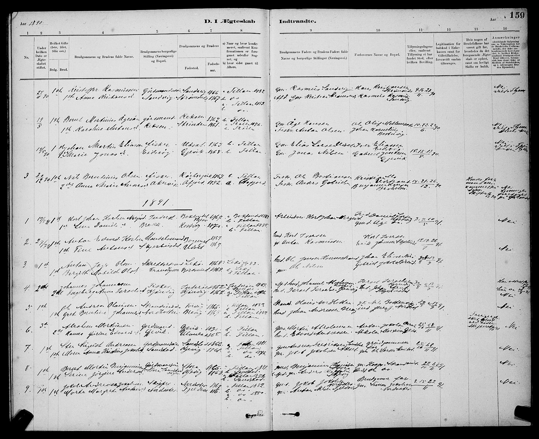 SAT, Ministerialprotokoller, klokkerbøker og fødselsregistre - Sør-Trøndelag, 637/L0562: Klokkerbok nr. 637C03, 1883-1898, s. 159