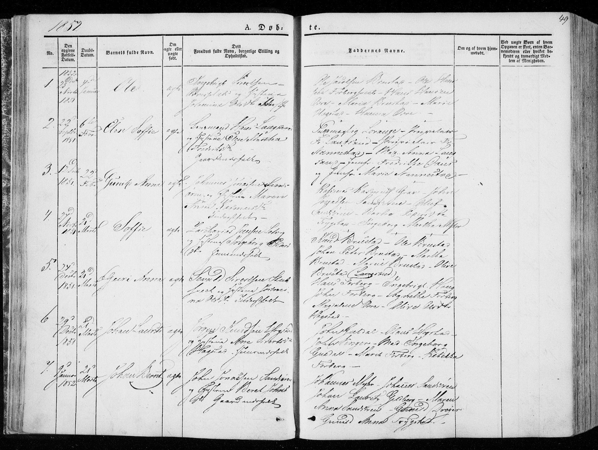 SAT, Ministerialprotokoller, klokkerbøker og fødselsregistre - Nord-Trøndelag, 722/L0218: Ministerialbok nr. 722A05, 1843-1868, s. 49