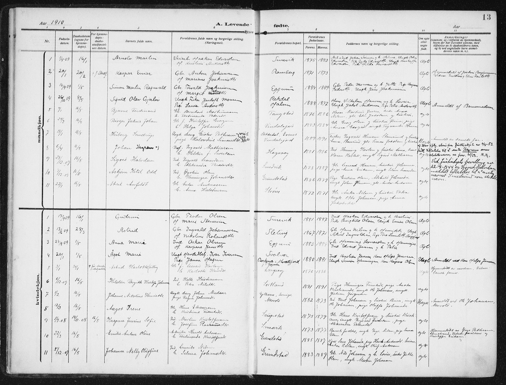 SAT, Ministerialprotokoller, klokkerbøker og fødselsregistre - Nordland, 880/L1135: Ministerialbok nr. 880A09, 1908-1919, s. 13