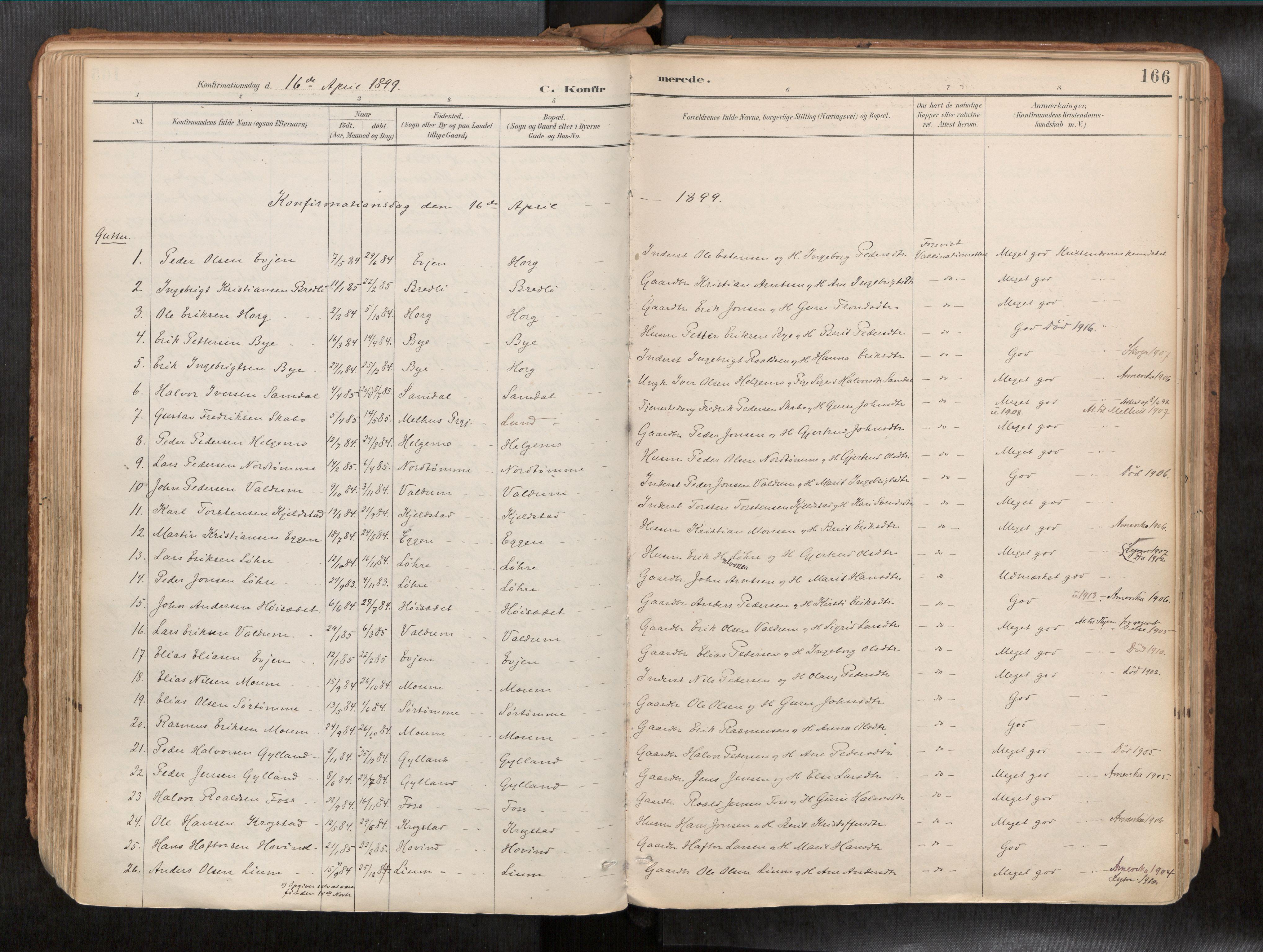 SAT, Ministerialprotokoller, klokkerbøker og fødselsregistre - Sør-Trøndelag, 692/L1105b: Ministerialbok nr. 692A06, 1891-1934, s. 166