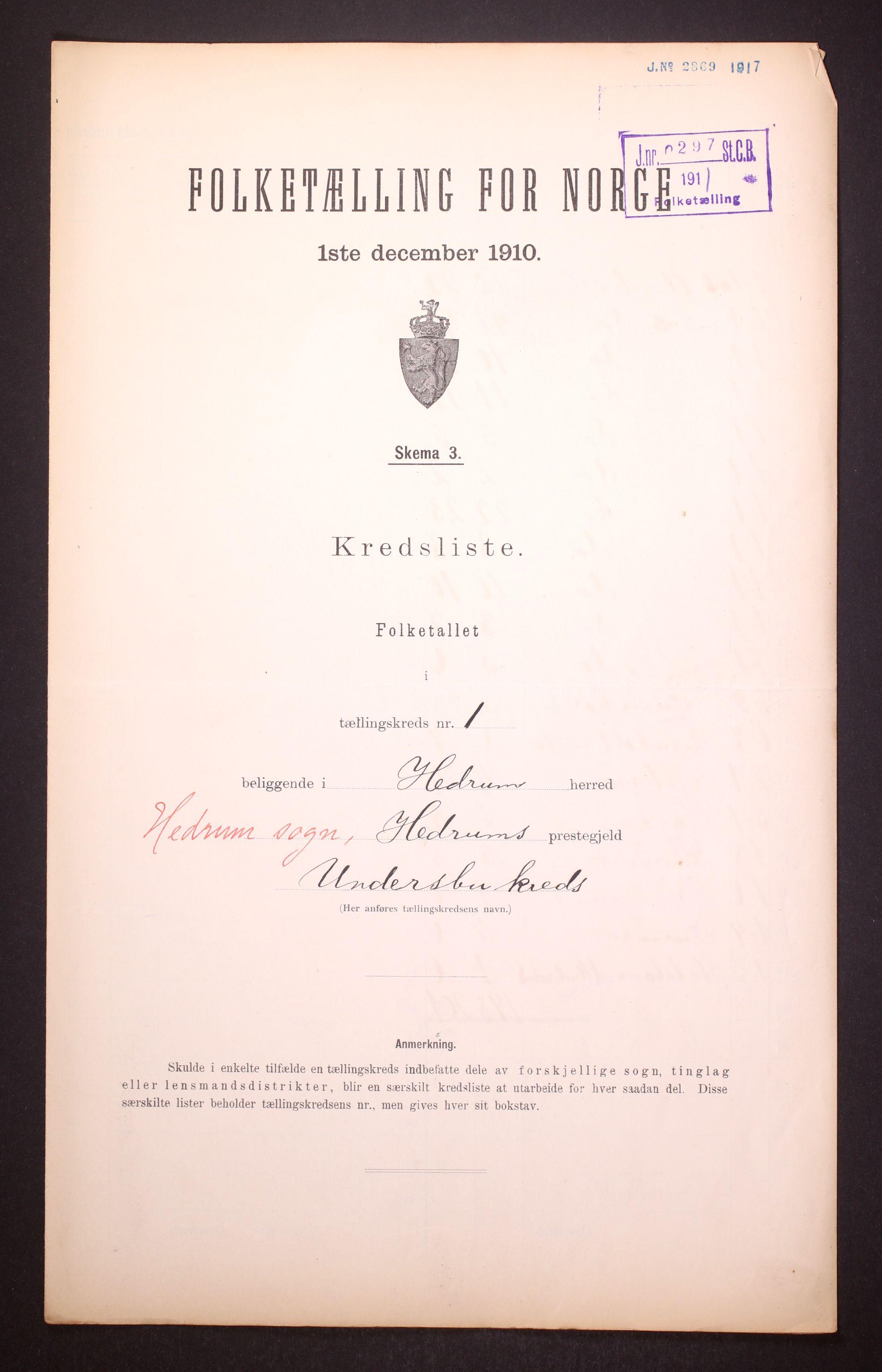 RA, Folketelling 1910 for 0727 Hedrum herred, 1910, s. 4