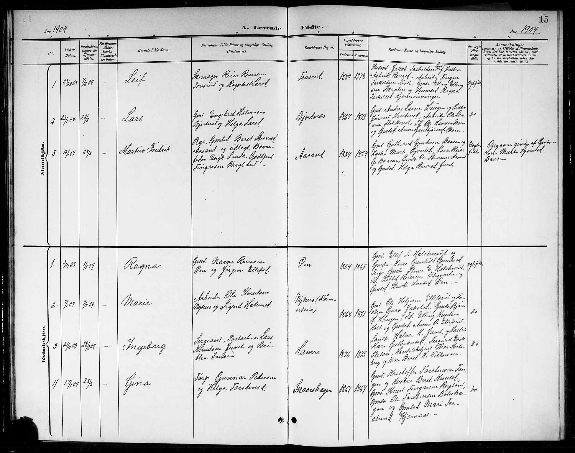 SAKO, Sigdal kirkebøker, G/Gb/L0003: Klokkerbok nr. II 3, 1901-1916, s. 15