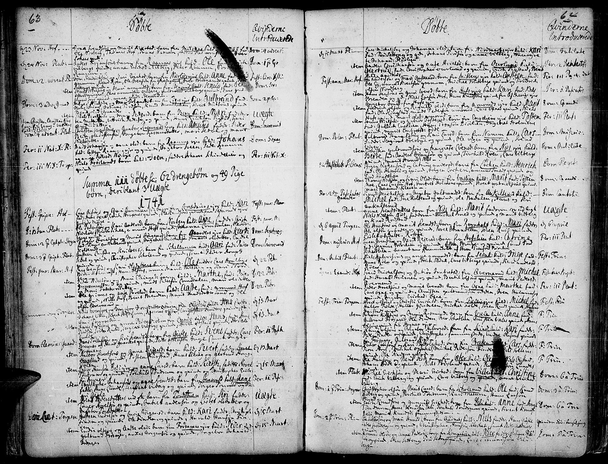 SAH, Land prestekontor, Ministerialbok nr. 2, 1733-1764, s. 63-64