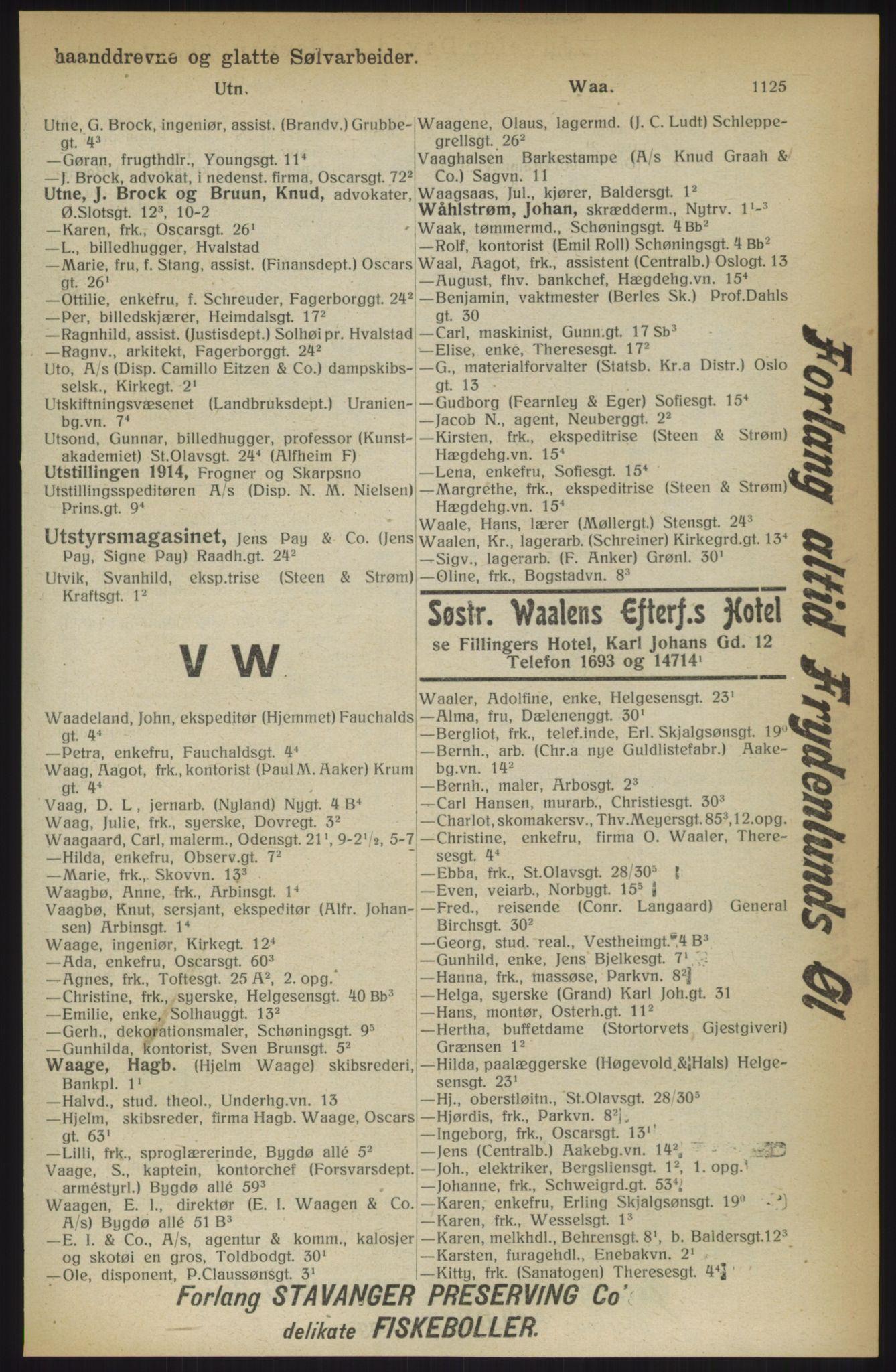 RA, Kristiania adressebok (publikasjon)*, 1914, s. 1125