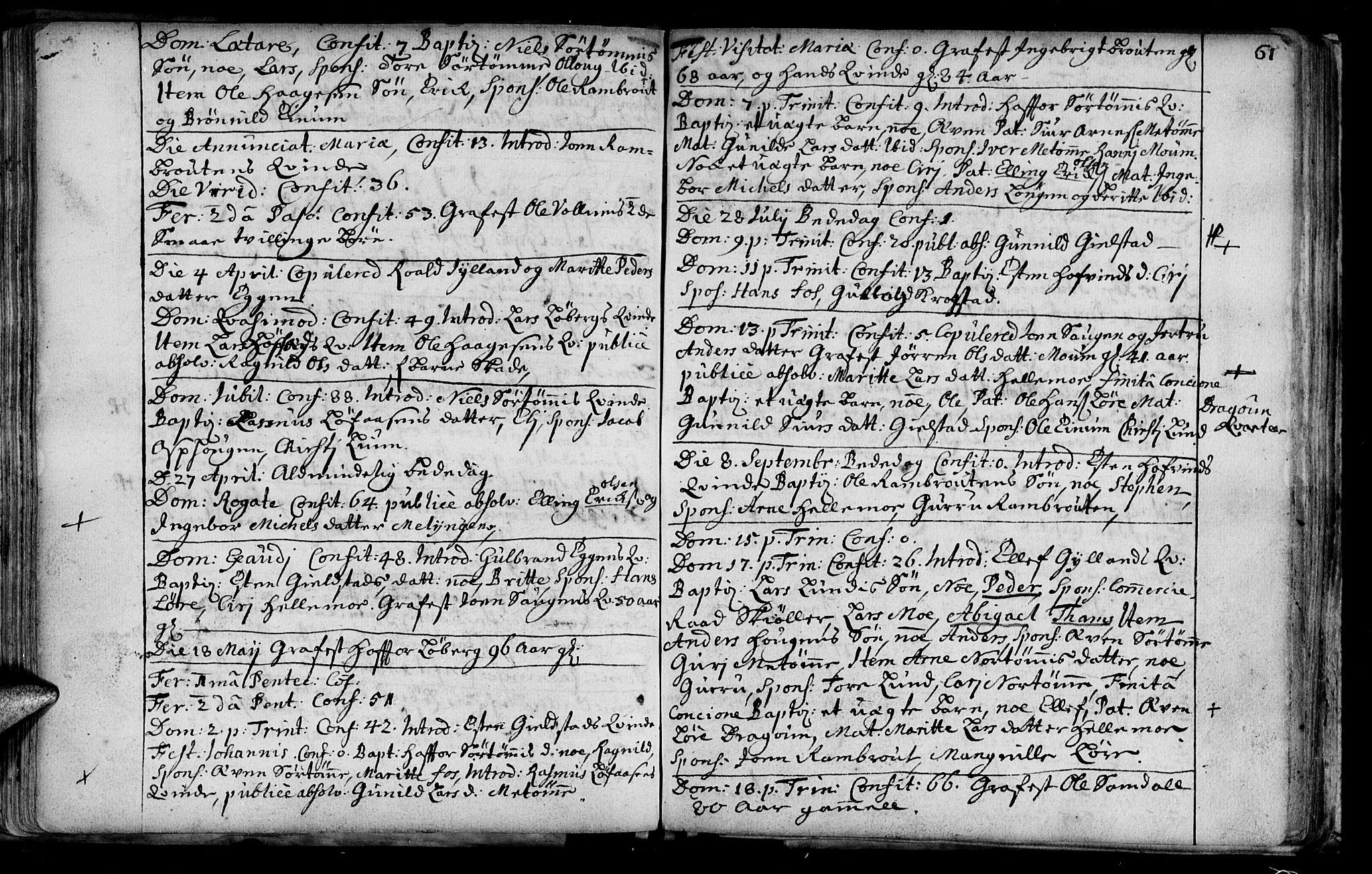 SAT, Ministerialprotokoller, klokkerbøker og fødselsregistre - Sør-Trøndelag, 692/L1101: Ministerialbok nr. 692A01, 1690-1746, s. 61