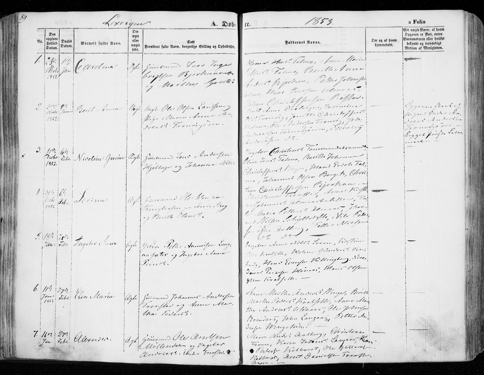 SAT, Ministerialprotokoller, klokkerbøker og fødselsregistre - Nord-Trøndelag, 701/L0007: Ministerialbok nr. 701A07 /1, 1842-1854, s. 89