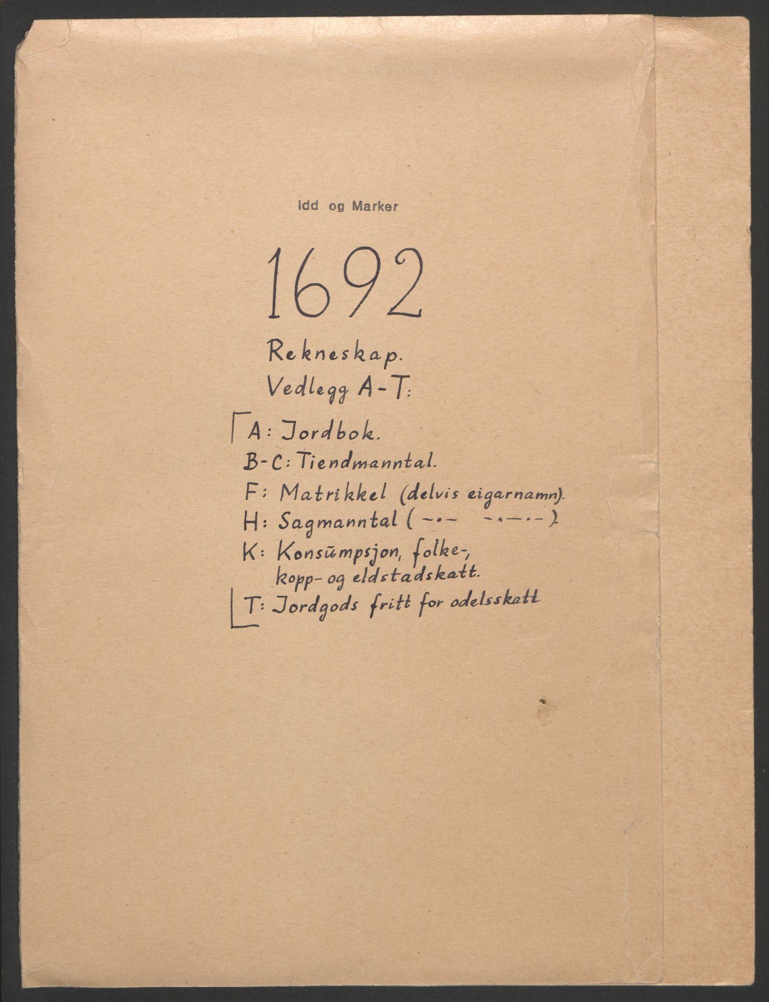 RA, Rentekammeret inntil 1814, Reviderte regnskaper, Fogderegnskap, R01/L0011: Fogderegnskap Idd og Marker, 1692-1693, s. 2