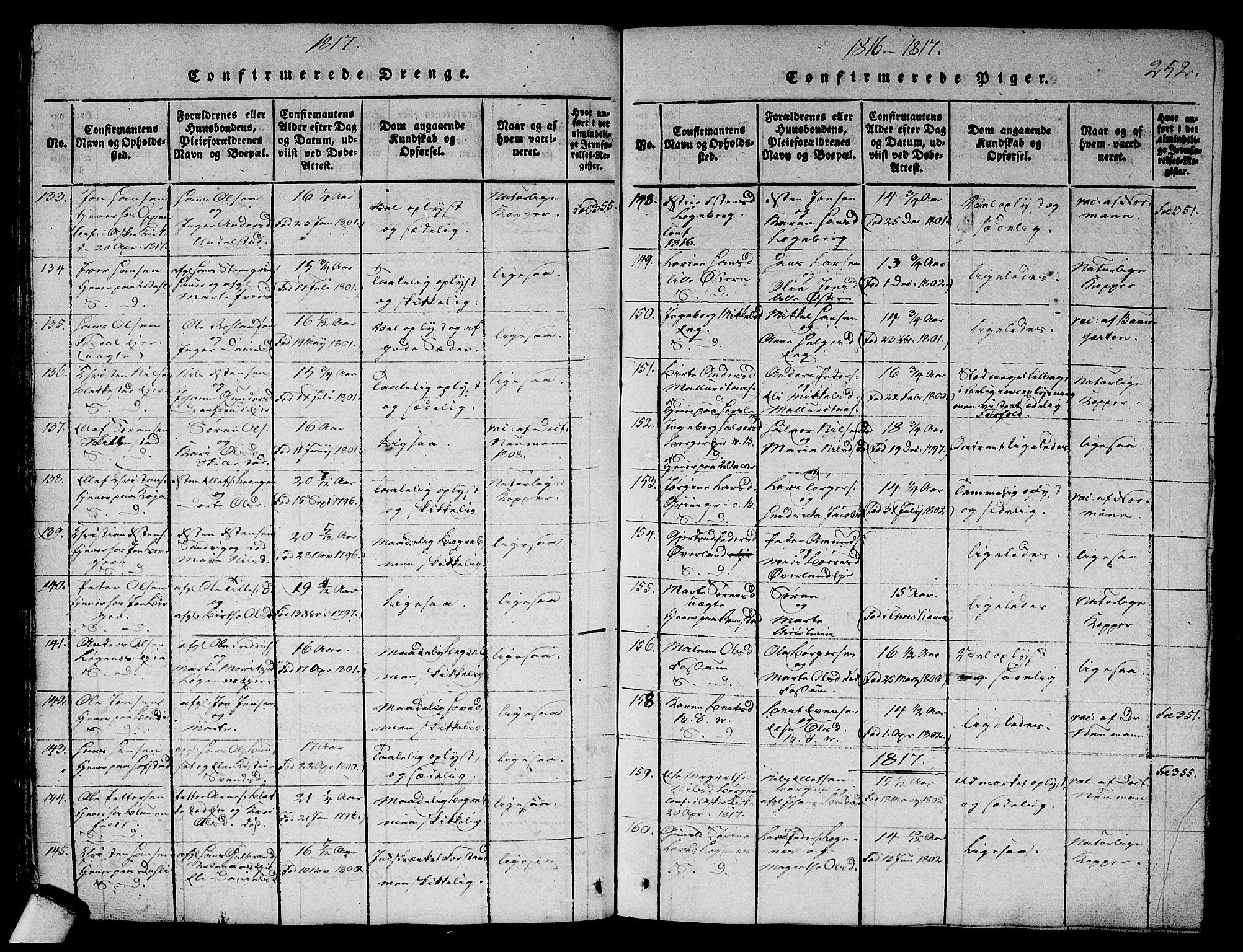SAO, Asker prestekontor Kirkebøker, G/Ga/L0001: Klokkerbok nr. I 1, 1814-1830, s. 252