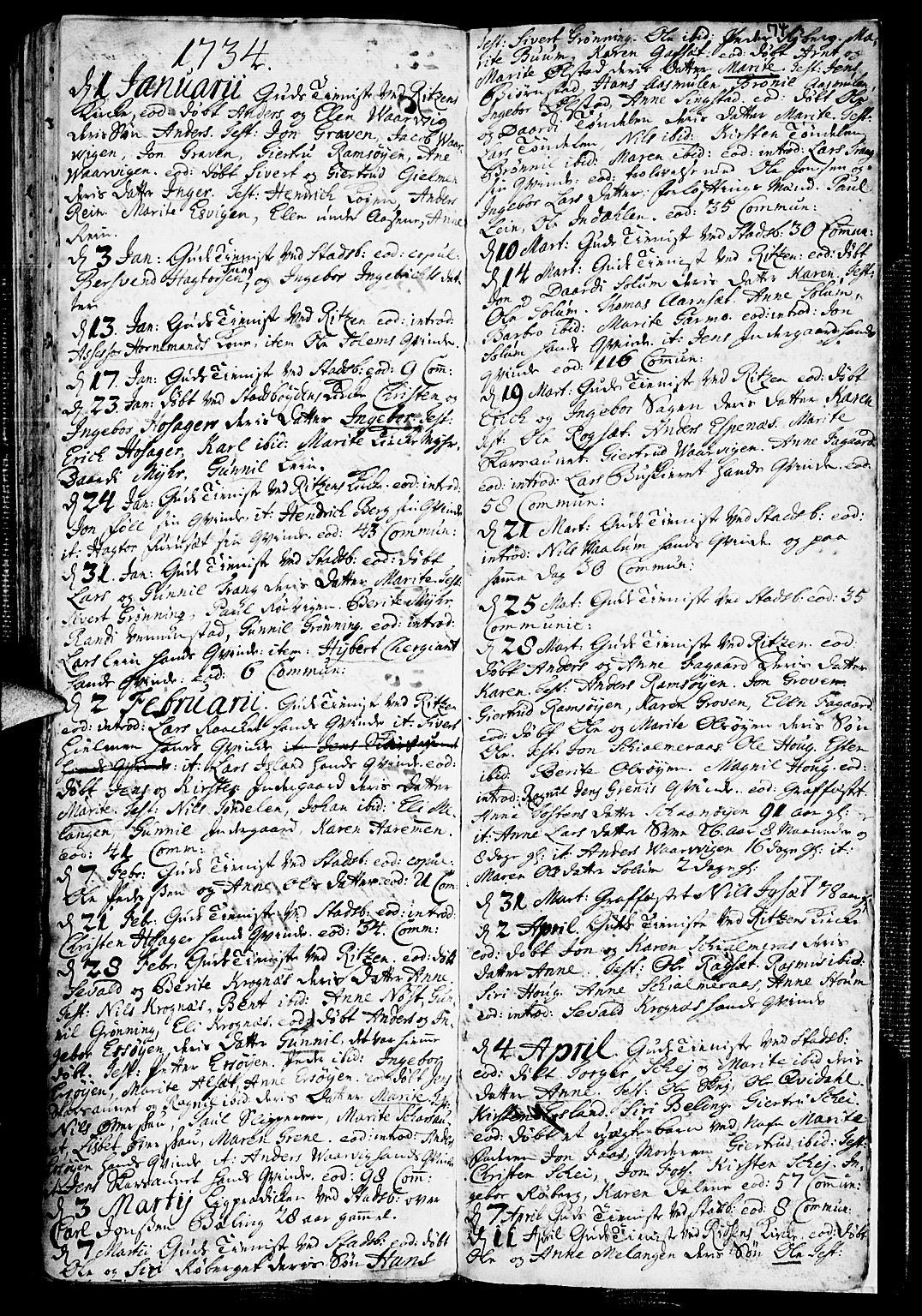 SAT, Ministerialprotokoller, klokkerbøker og fødselsregistre - Sør-Trøndelag, 646/L0603: Ministerialbok nr. 646A01, 1700-1734, s. 74
