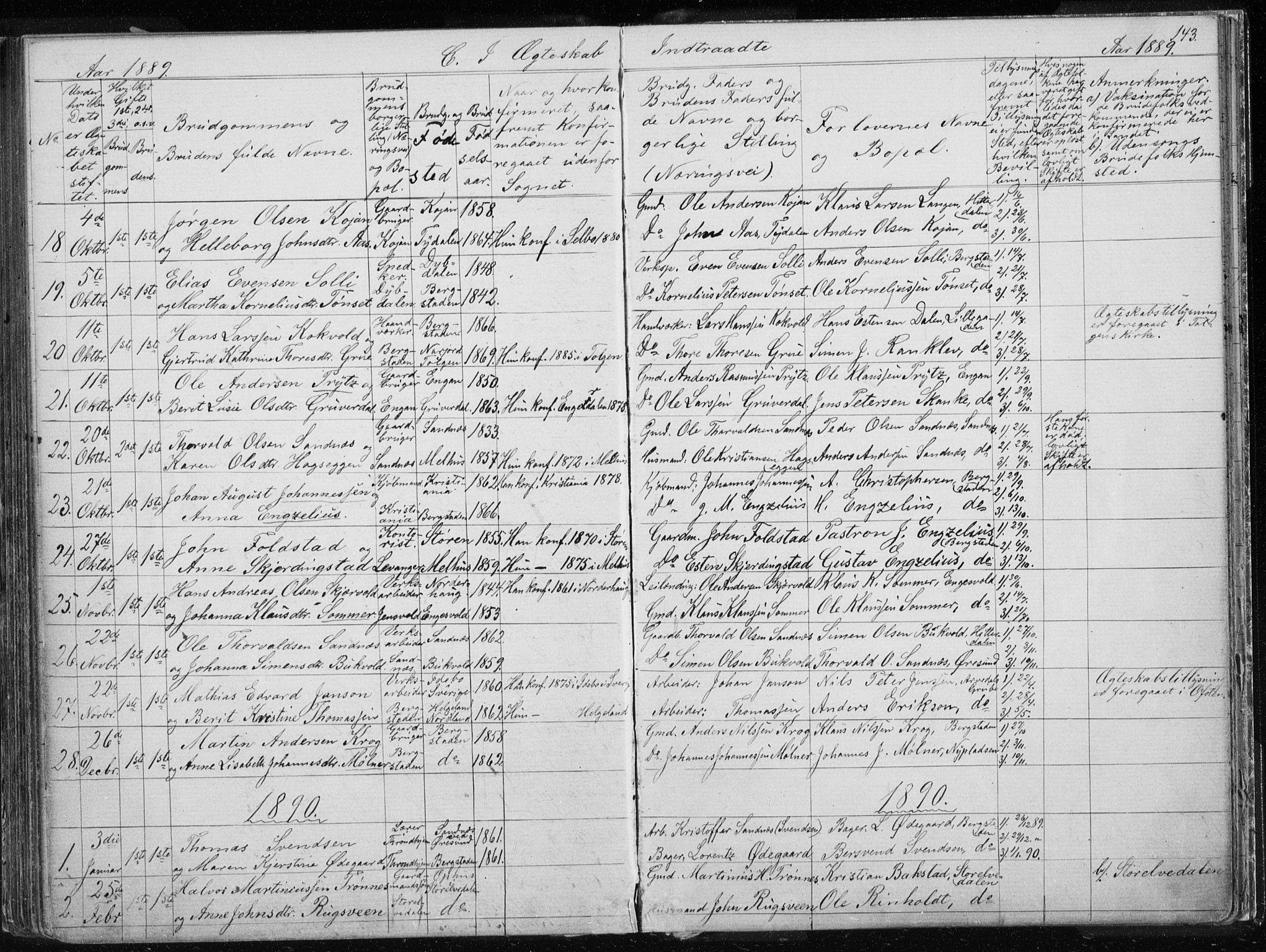 SAT, Ministerialprotokoller, klokkerbøker og fødselsregistre - Sør-Trøndelag, 681/L0940: Klokkerbok nr. 681C04, 1880-1895, s. 143