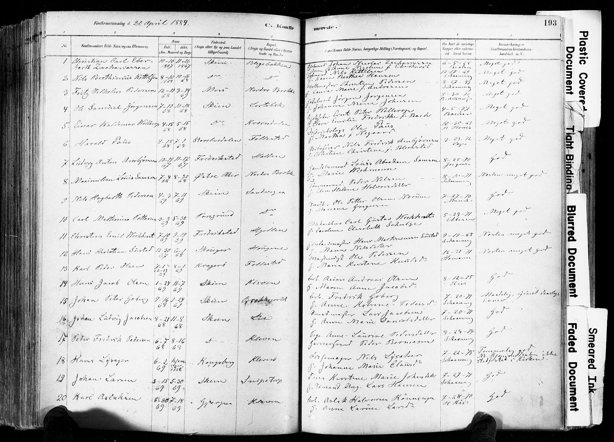 SAKO, Skien kirkebøker, F/Fa/L0009: Ministerialbok nr. 9, 1878-1890, s. 193