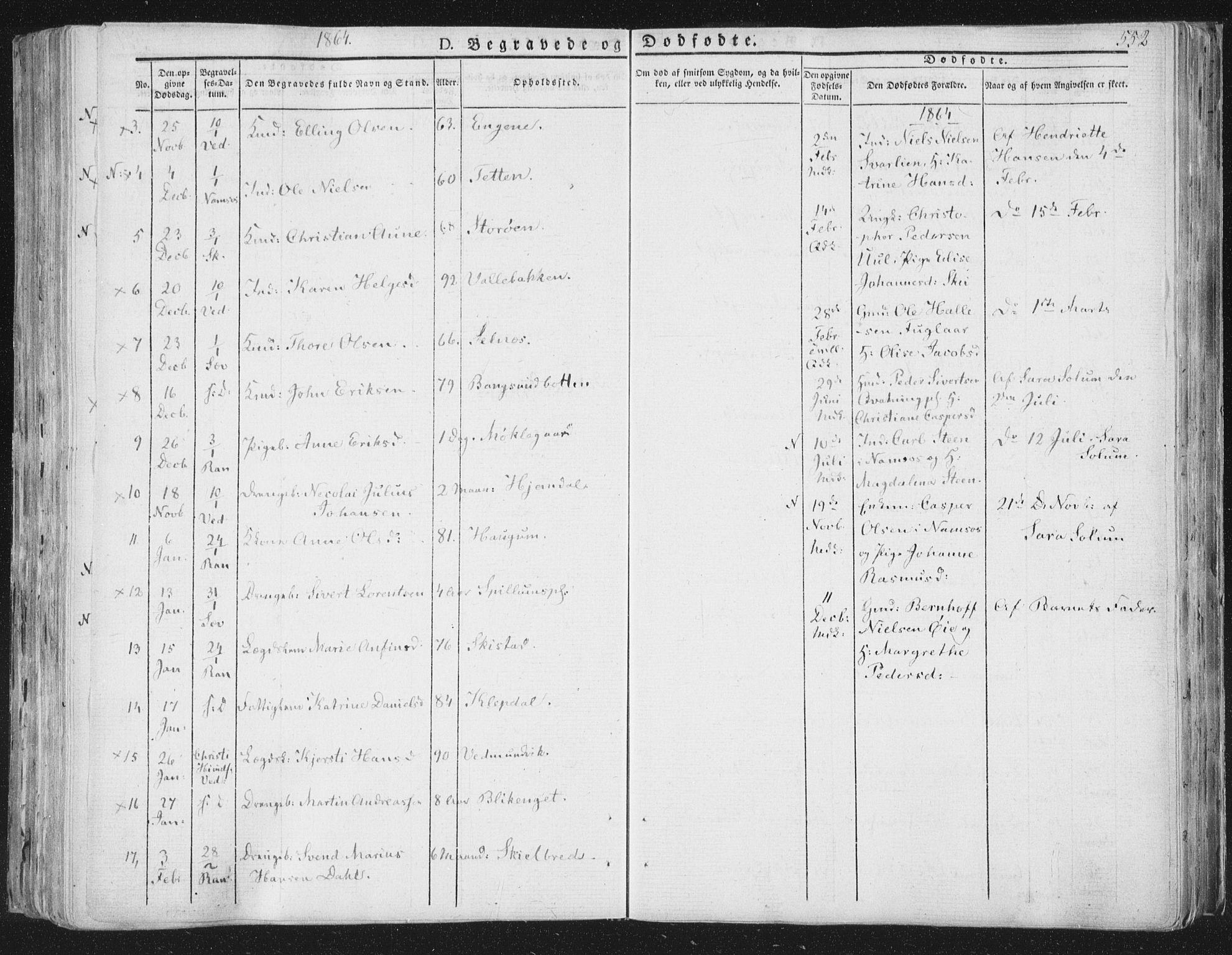 SAT, Ministerialprotokoller, klokkerbøker og fødselsregistre - Nord-Trøndelag, 764/L0552: Ministerialbok nr. 764A07b, 1824-1865, s. 552