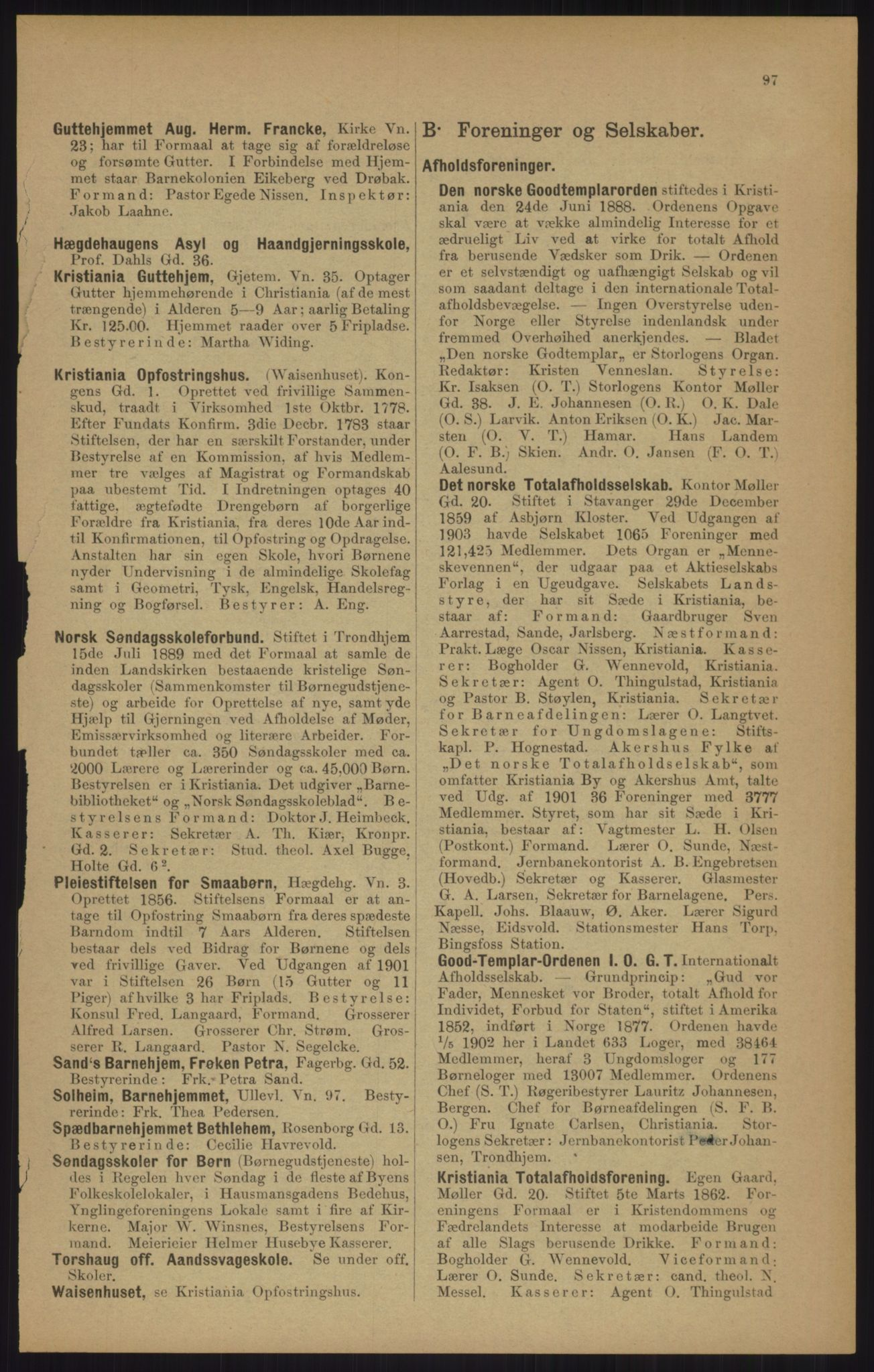 RA, Kristiania adressebok (publikasjon)*, 1905, s. 97
