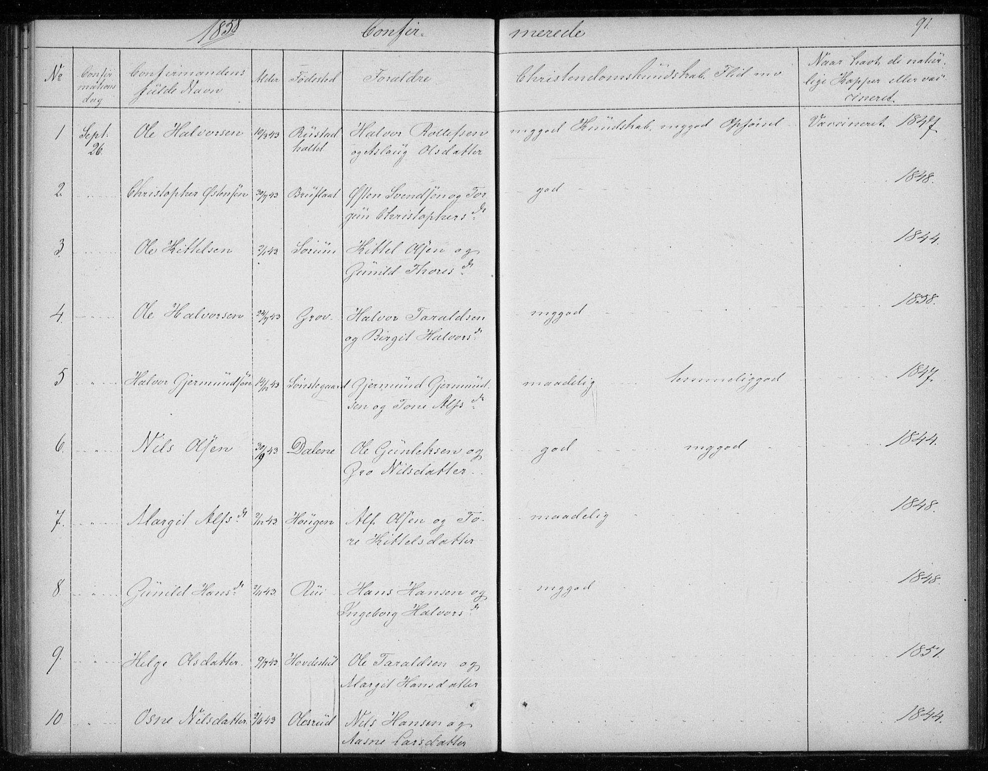 SAKO, Gransherad kirkebøker, F/Fb/L0003: Ministerialbok nr. II 3, 1844-1859, s. 91
