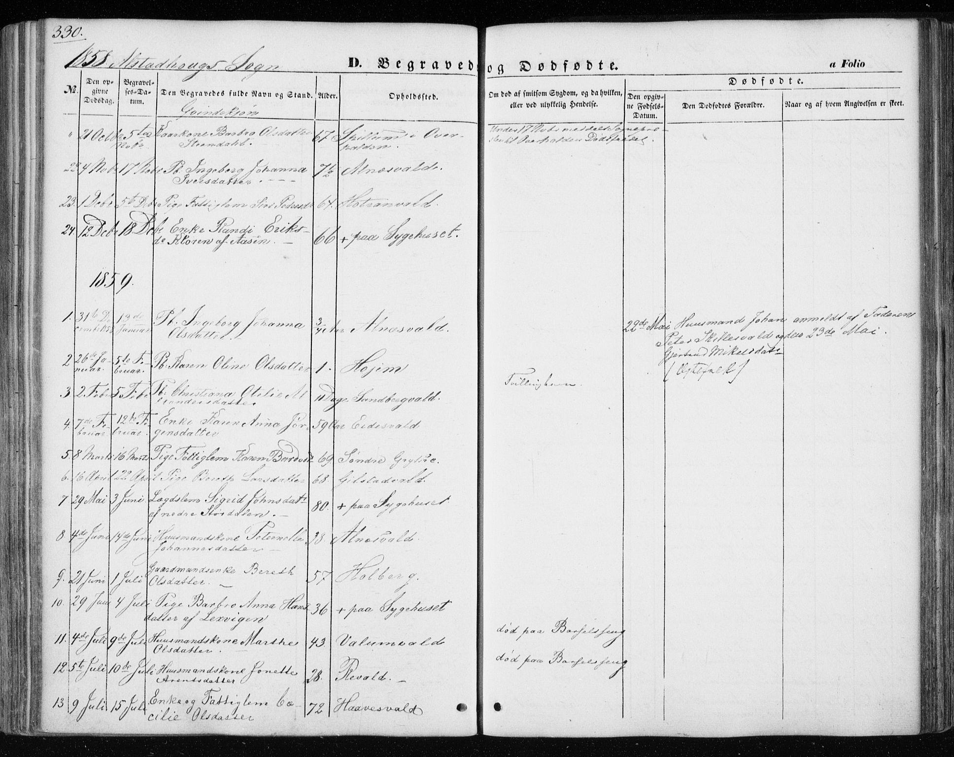 SAT, Ministerialprotokoller, klokkerbøker og fødselsregistre - Nord-Trøndelag, 717/L0154: Ministerialbok nr. 717A07 /1, 1850-1862, s. 330