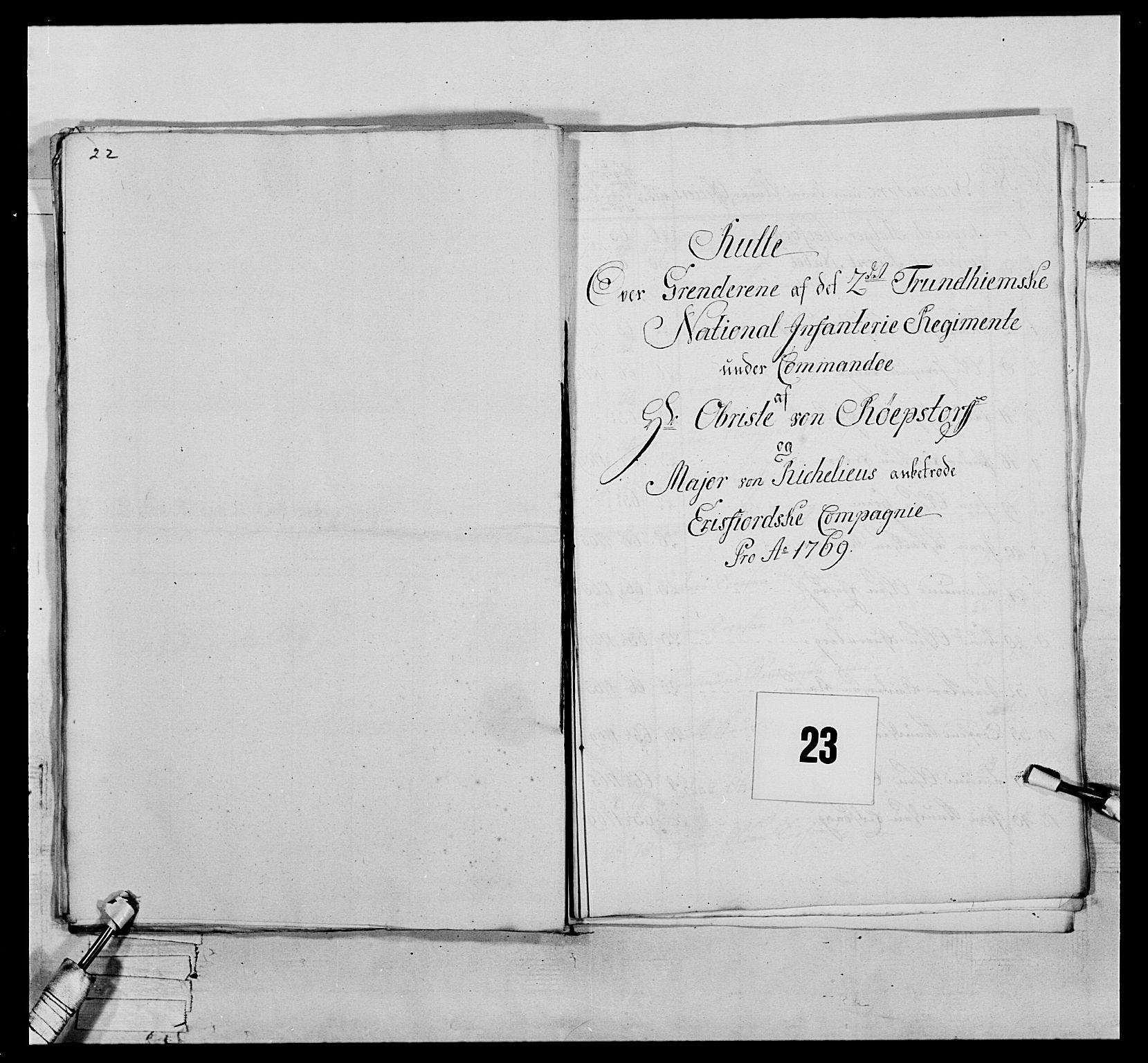 RA, Generalitets- og kommissariatskollegiet, Det kongelige norske kommissariatskollegium, E/Eh/L0076: 2. Trondheimske nasjonale infanteriregiment, 1766-1773, s. 56