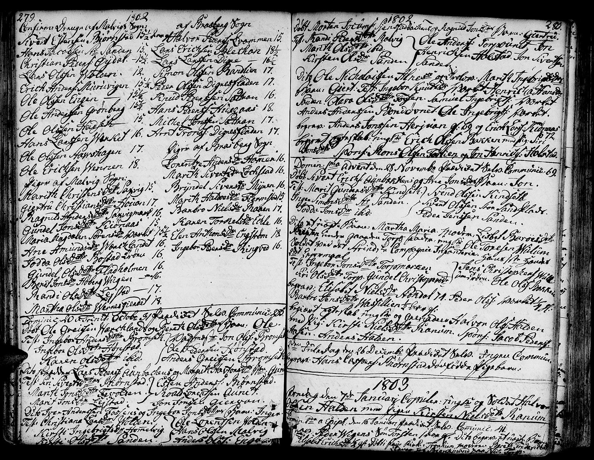 SAT, Ministerialprotokoller, klokkerbøker og fødselsregistre - Sør-Trøndelag, 606/L0281: Ministerialbok nr. 606A02 /2, 1781-1817, s. 279-280