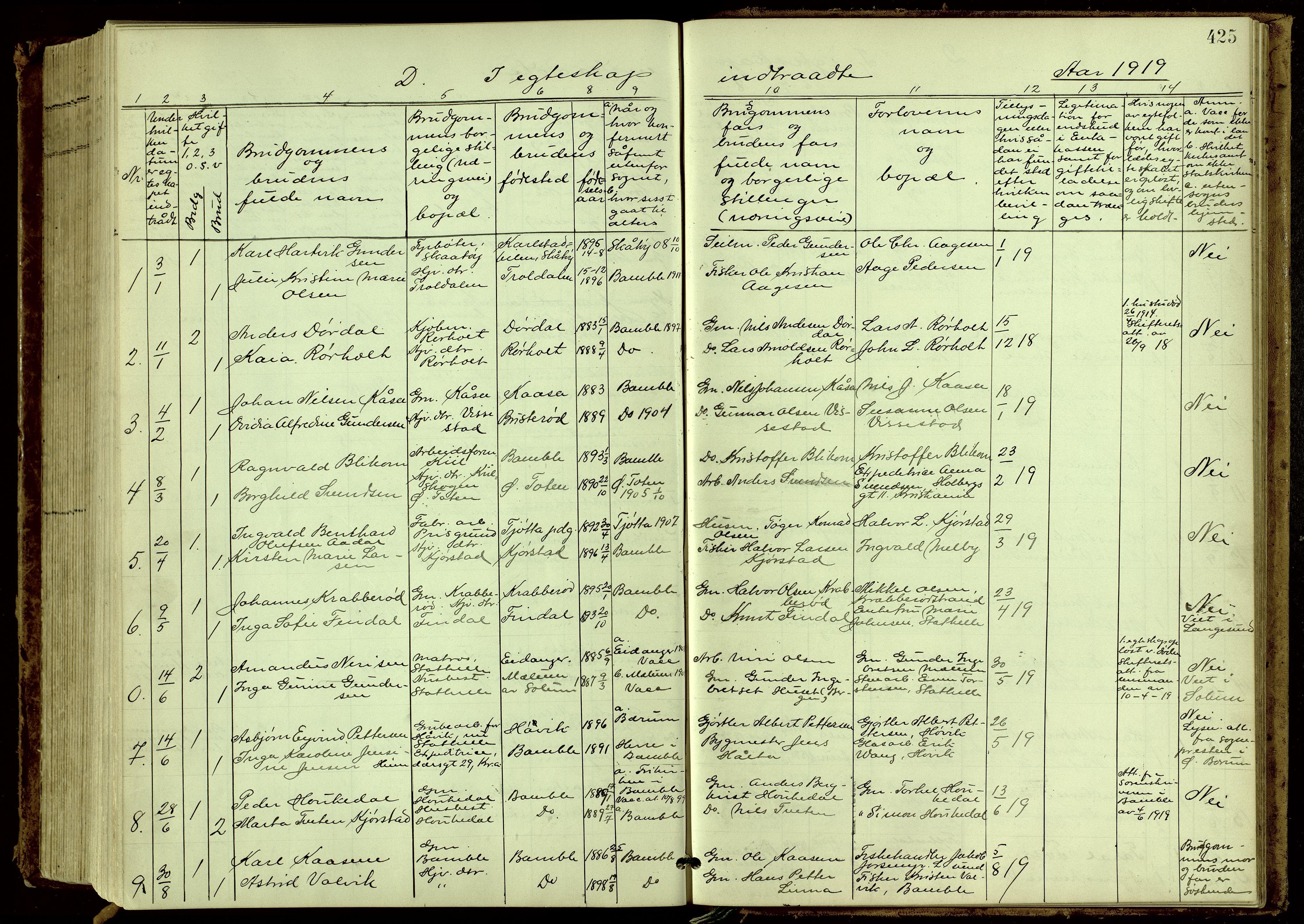 SAKO, Bamble kirkebøker, G/Ga/L0010: Klokkerbok nr. I 10, 1901-1919, s. 425