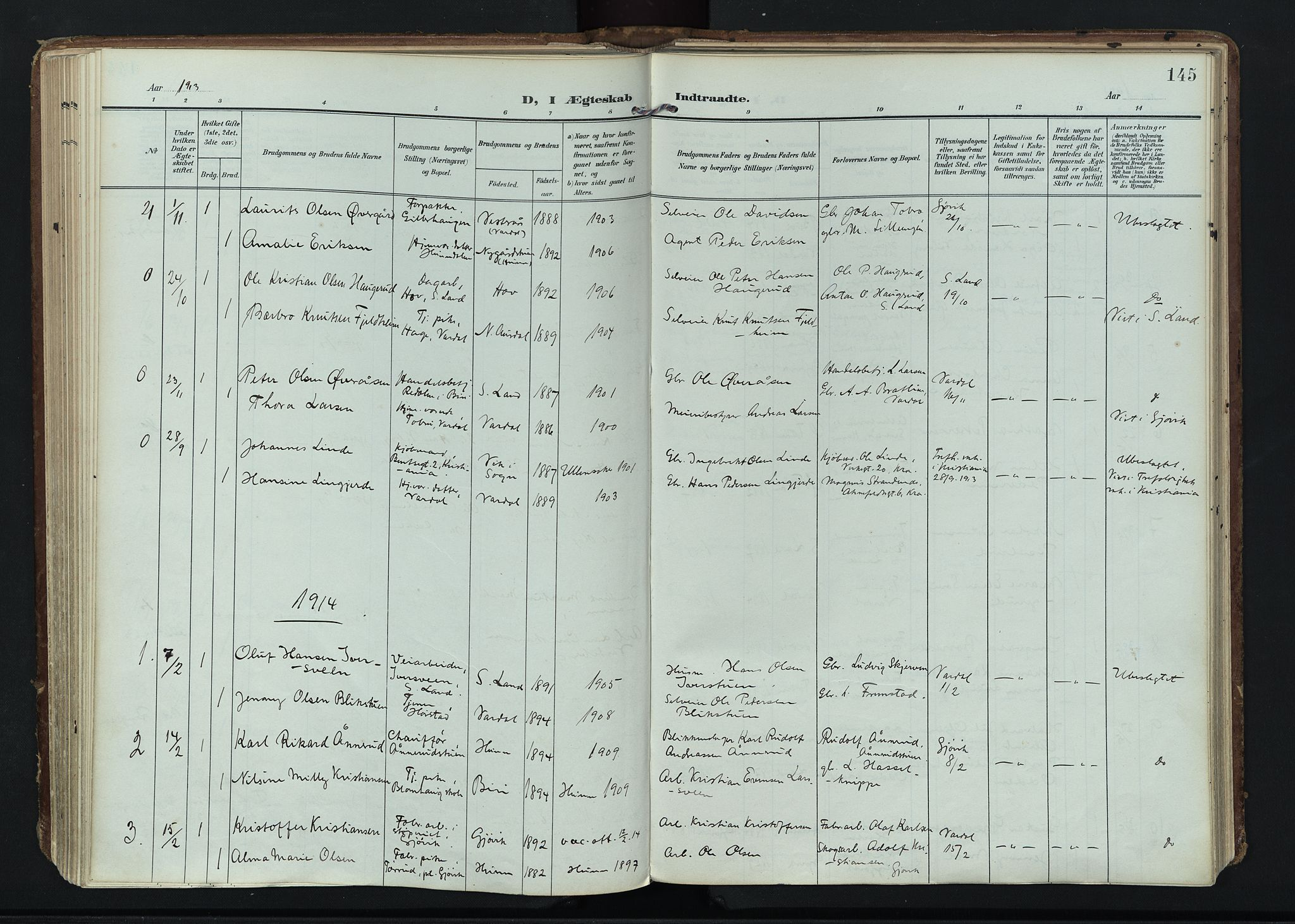 SAH, Vardal prestekontor, H/Ha/Haa/L0020: Ministerialbok nr. 20, 1907-1921, s. 145