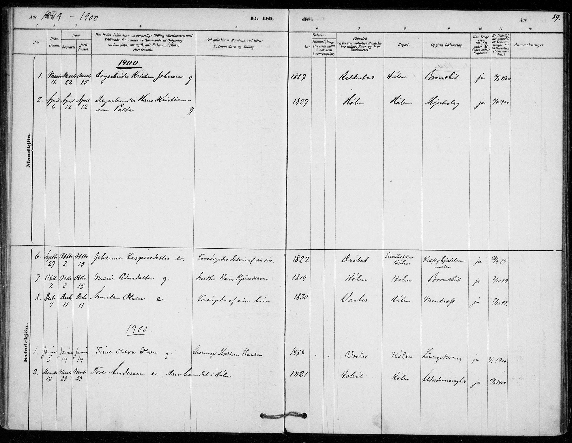SAO, Vestby prestekontor Kirkebøker, F/Fe/L0001: Ministerialbok nr. V 1, 1878-1931, s. 89