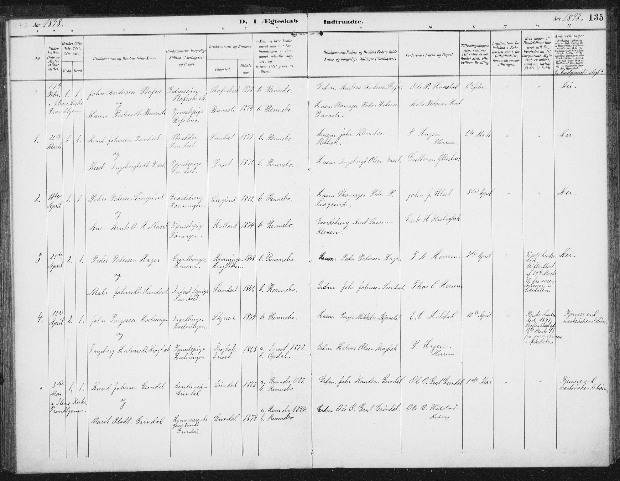 SAT, Ministerialprotokoller, klokkerbøker og fødselsregistre - Sør-Trøndelag, 674/L0872: Ministerialbok nr. 674A04, 1897-1907, s. 135