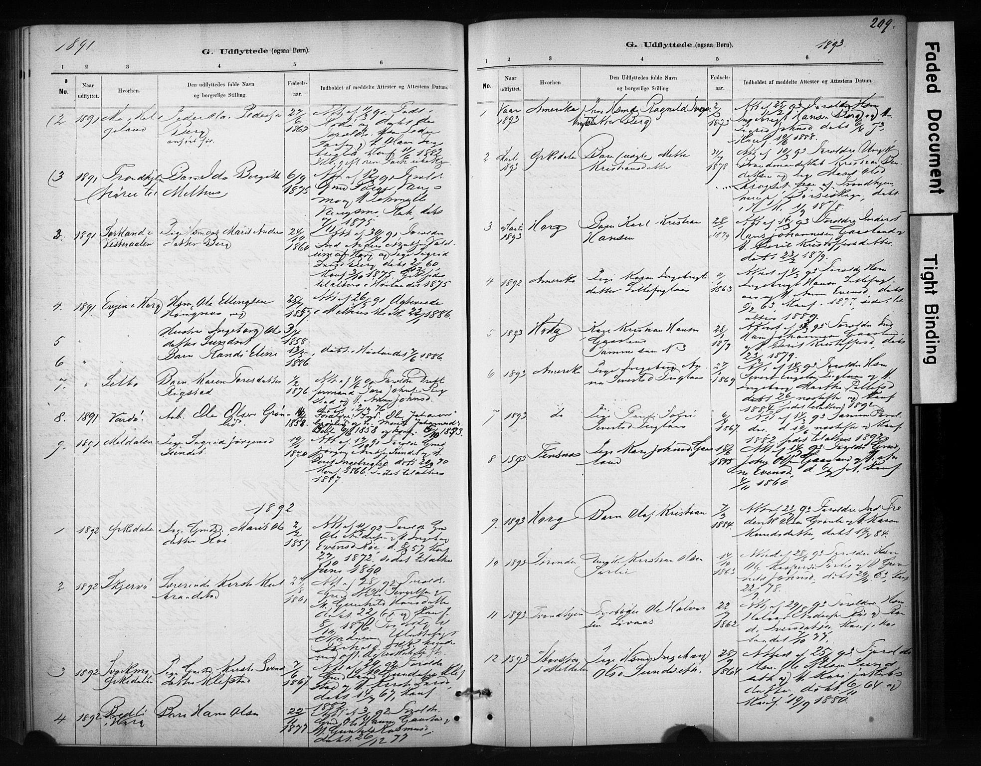 SAT, Ministerialprotokoller, klokkerbøker og fødselsregistre - Sør-Trøndelag, 694/L1127: Ministerialbok nr. 694A01, 1887-1905, s. 209