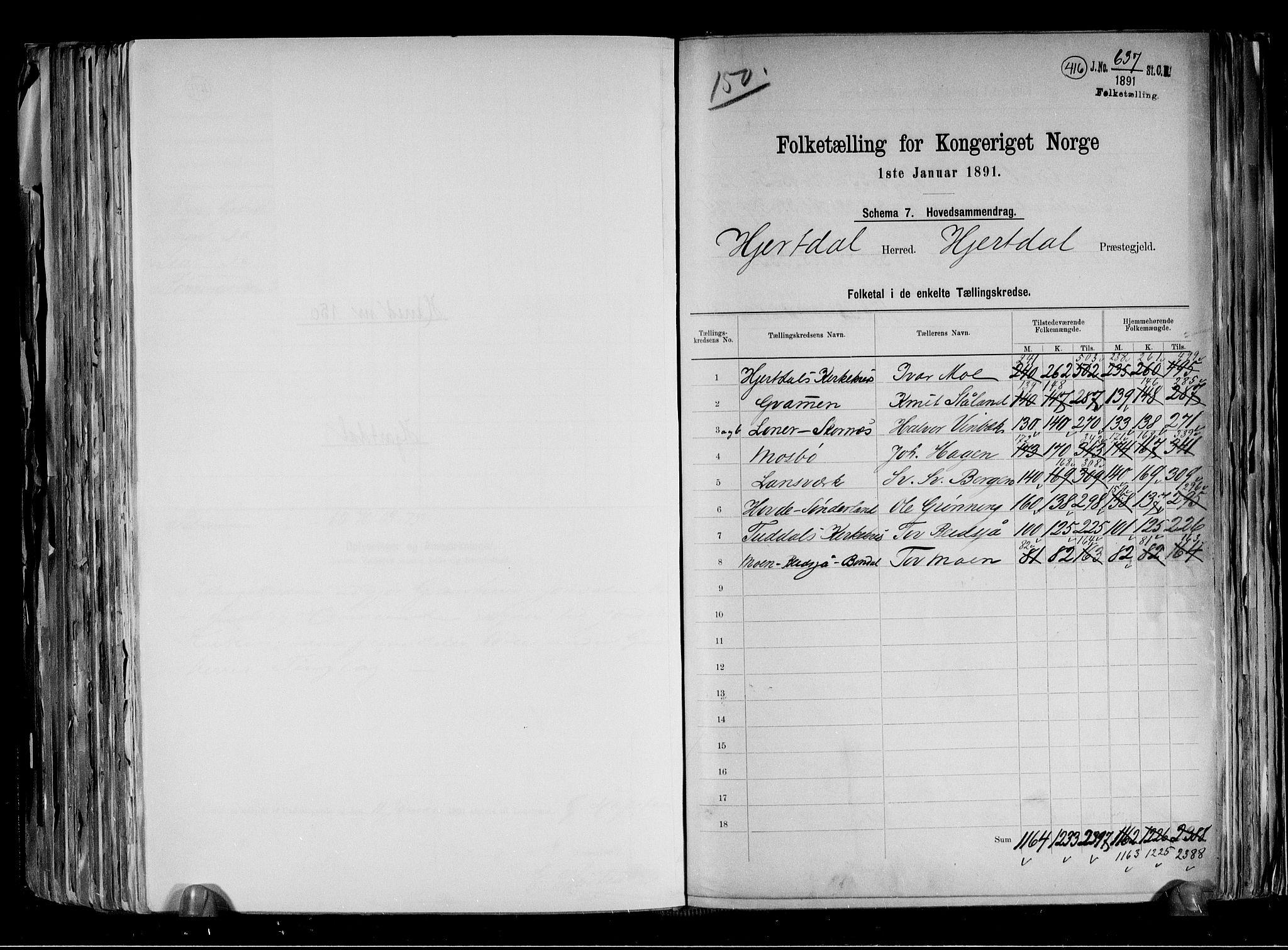 RA, Folketelling 1891 for 0827 Hjartdal herred, 1891, s. 2