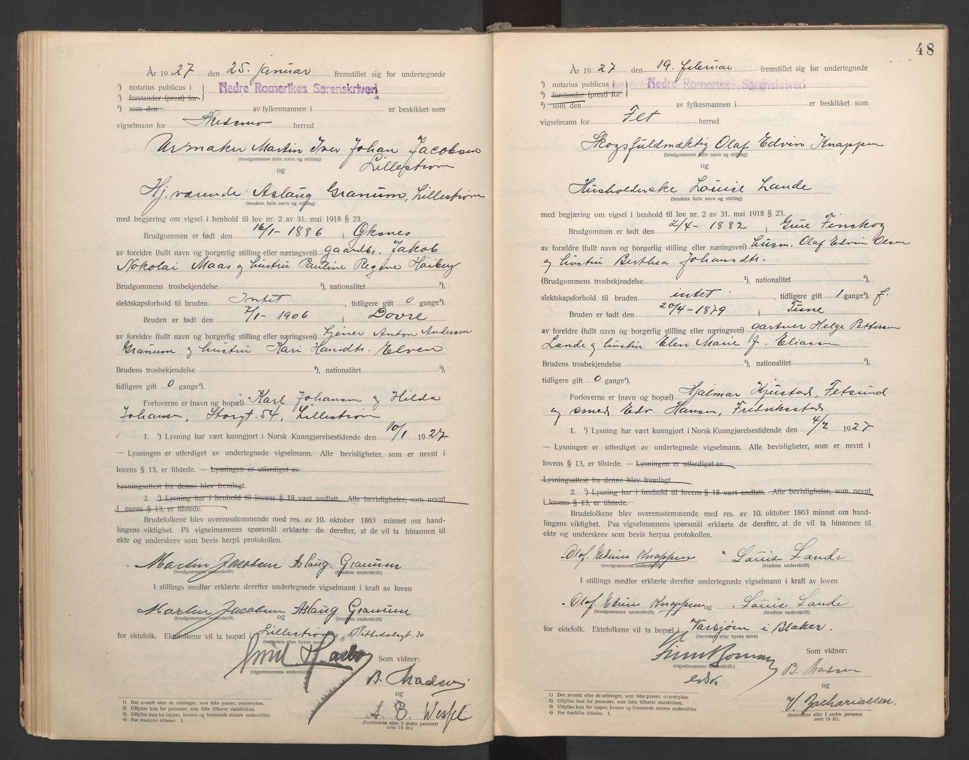 SAO, Nedre Romerike sorenskriveri, L/Lb/L0001: Vigselsbok - borgerlige vielser, 1920-1935, s. 48
