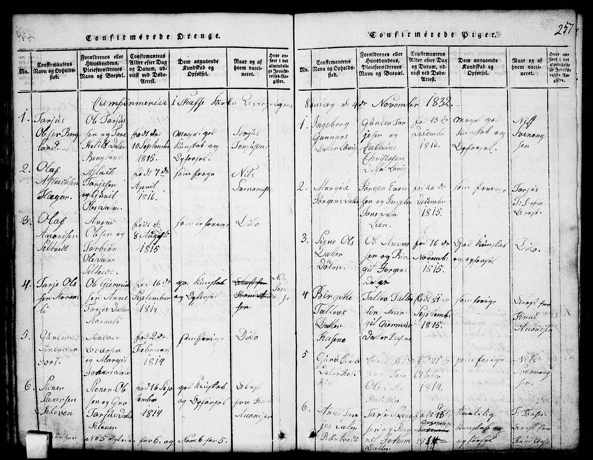 SAKO, Mo kirkebøker, G/Gb/L0001: Klokkerbok nr. II 1, 1814-1843, s. 257