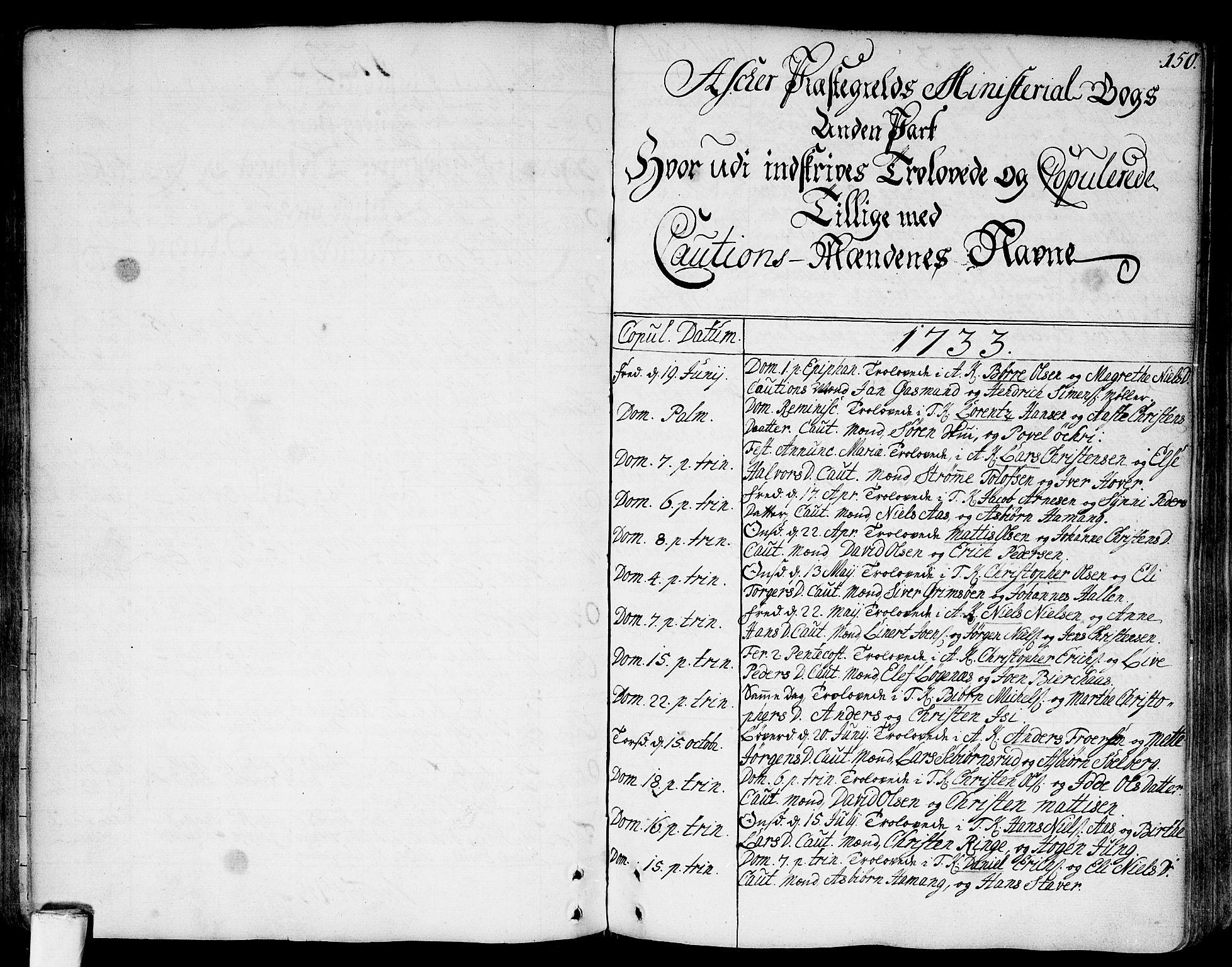 SAO, Asker prestekontor Kirkebøker, F/Fa/L0002: Ministerialbok nr. I 2, 1733-1766, s. 150