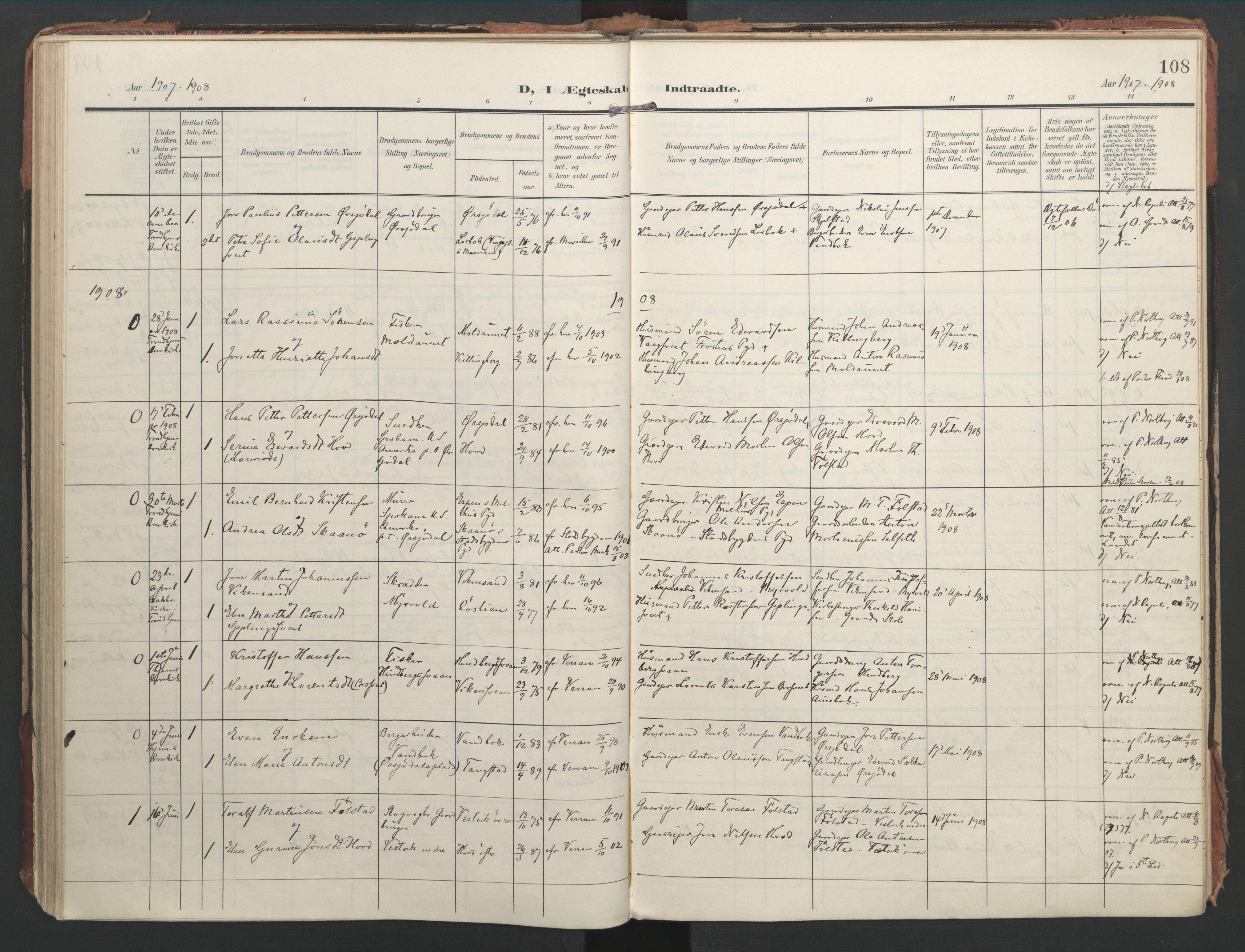 SAT, Ministerialprotokoller, klokkerbøker og fødselsregistre - Nord-Trøndelag, 744/L0421: Ministerialbok nr. 744A05, 1905-1930, s. 108