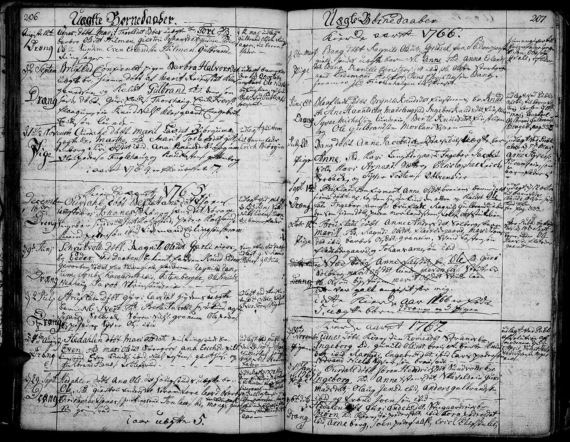 SAH, Aurdal prestekontor, Ministerialbok nr. 5, 1763-1781, s. 206-207