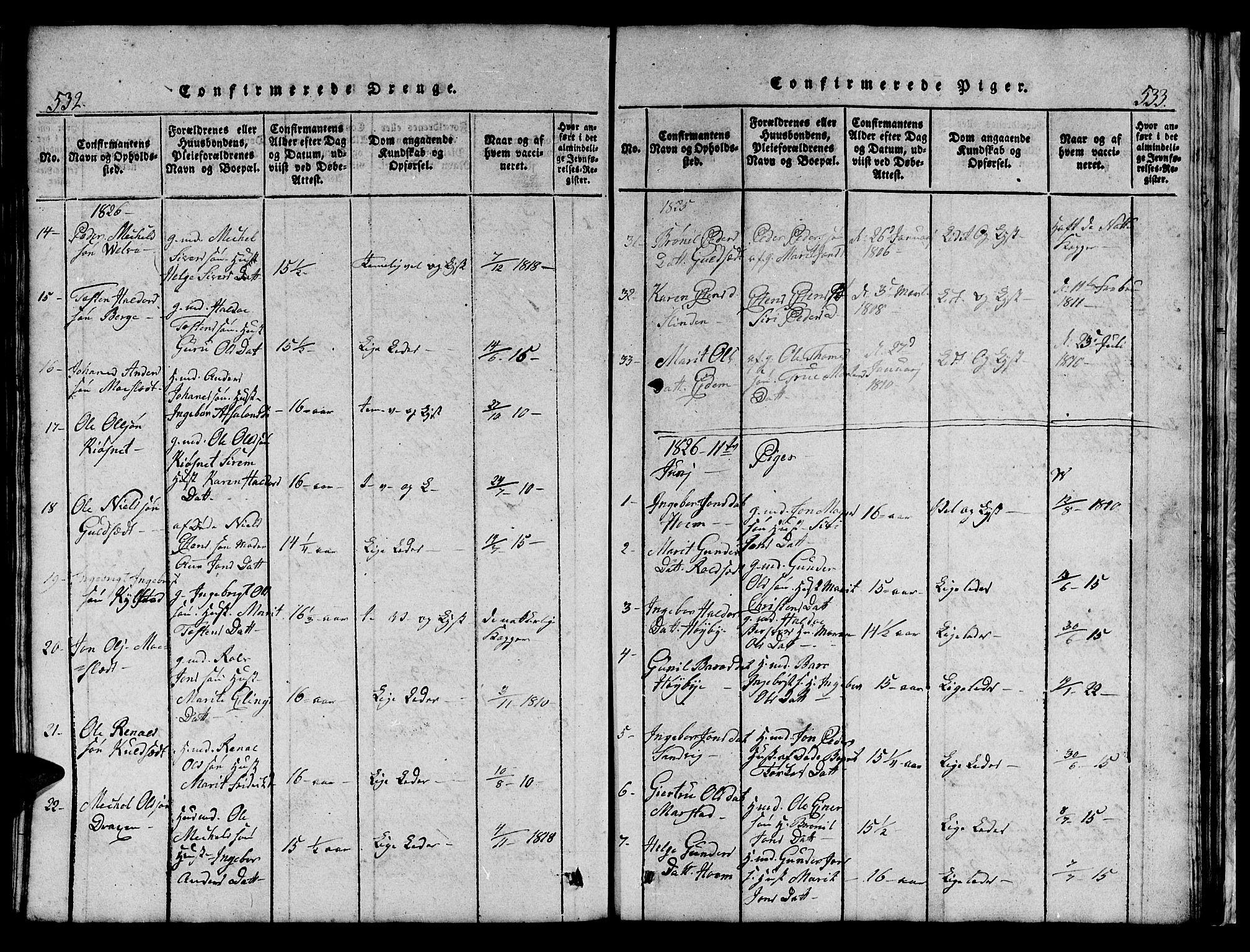 SAT, Ministerialprotokoller, klokkerbøker og fødselsregistre - Sør-Trøndelag, 695/L1152: Klokkerbok nr. 695C03, 1816-1831, s. 532-533