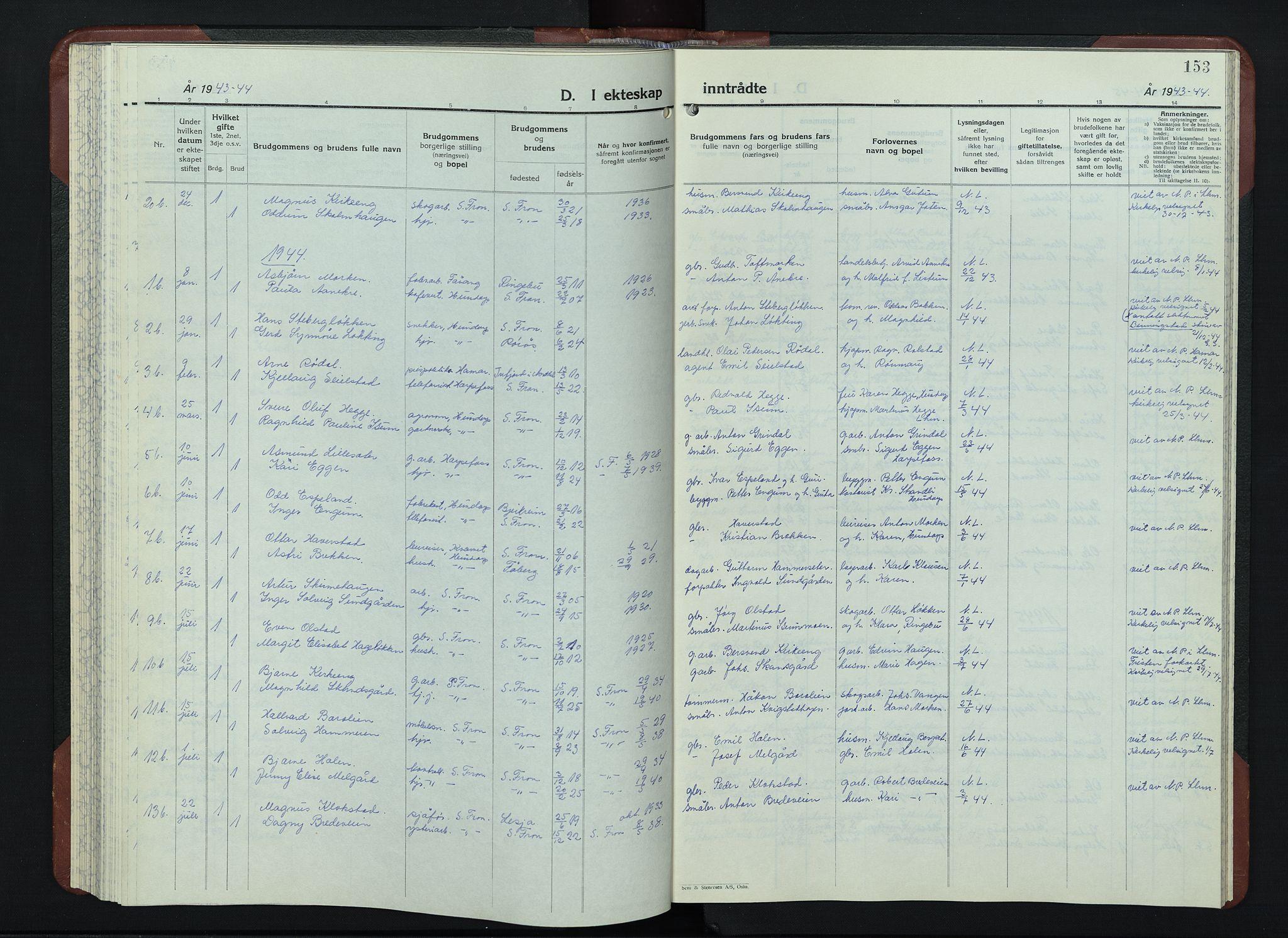 SAH, Sør-Fron prestekontor, H/Ha/Hab/L0006: Klokkerbok nr. 6, 1933-1948, s. 153