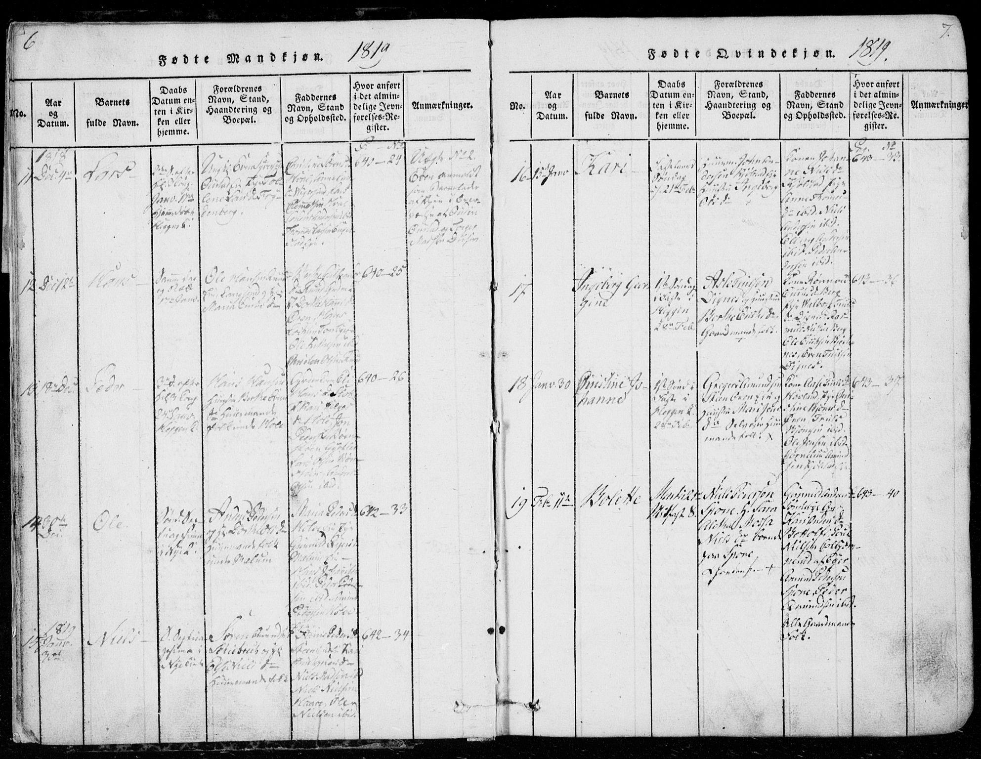 SAKO, Modum kirkebøker, G/Ga/L0001: Klokkerbok nr. I 1, 1818-1824, s. 6-7