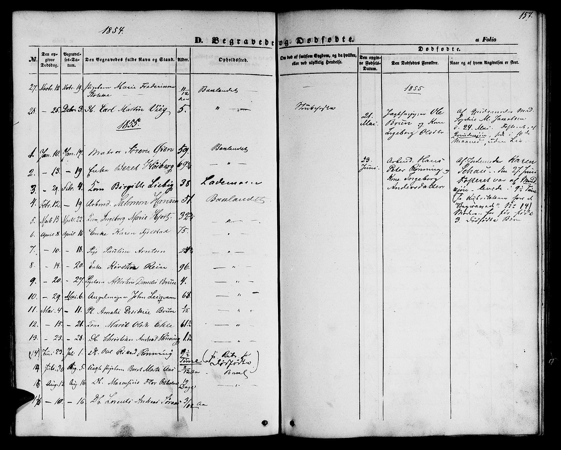 SAT, Ministerialprotokoller, klokkerbøker og fødselsregistre - Sør-Trøndelag, 604/L0184: Ministerialbok nr. 604A05, 1851-1860, s. 157