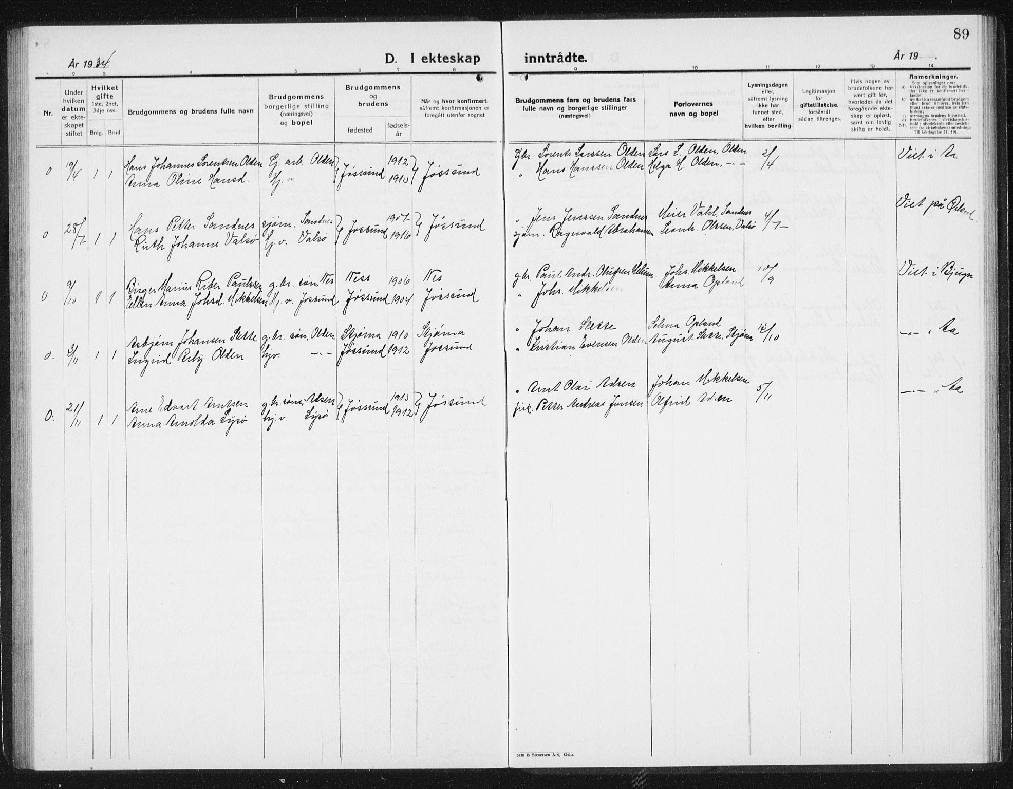 SAT, Ministerialprotokoller, klokkerbøker og fødselsregistre - Sør-Trøndelag, 654/L0667: Klokkerbok nr. 654C03, 1924-1939, s. 89