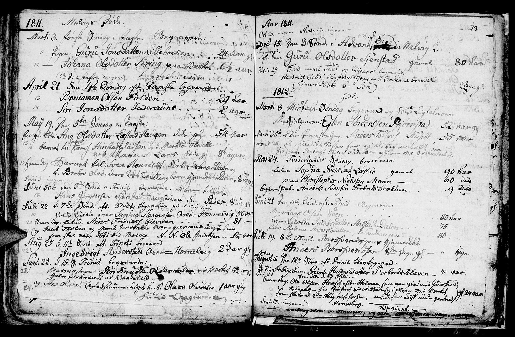 SAT, Ministerialprotokoller, klokkerbøker og fødselsregistre - Sør-Trøndelag, 616/L0419: Klokkerbok nr. 616C02, 1797-1816, s. 73