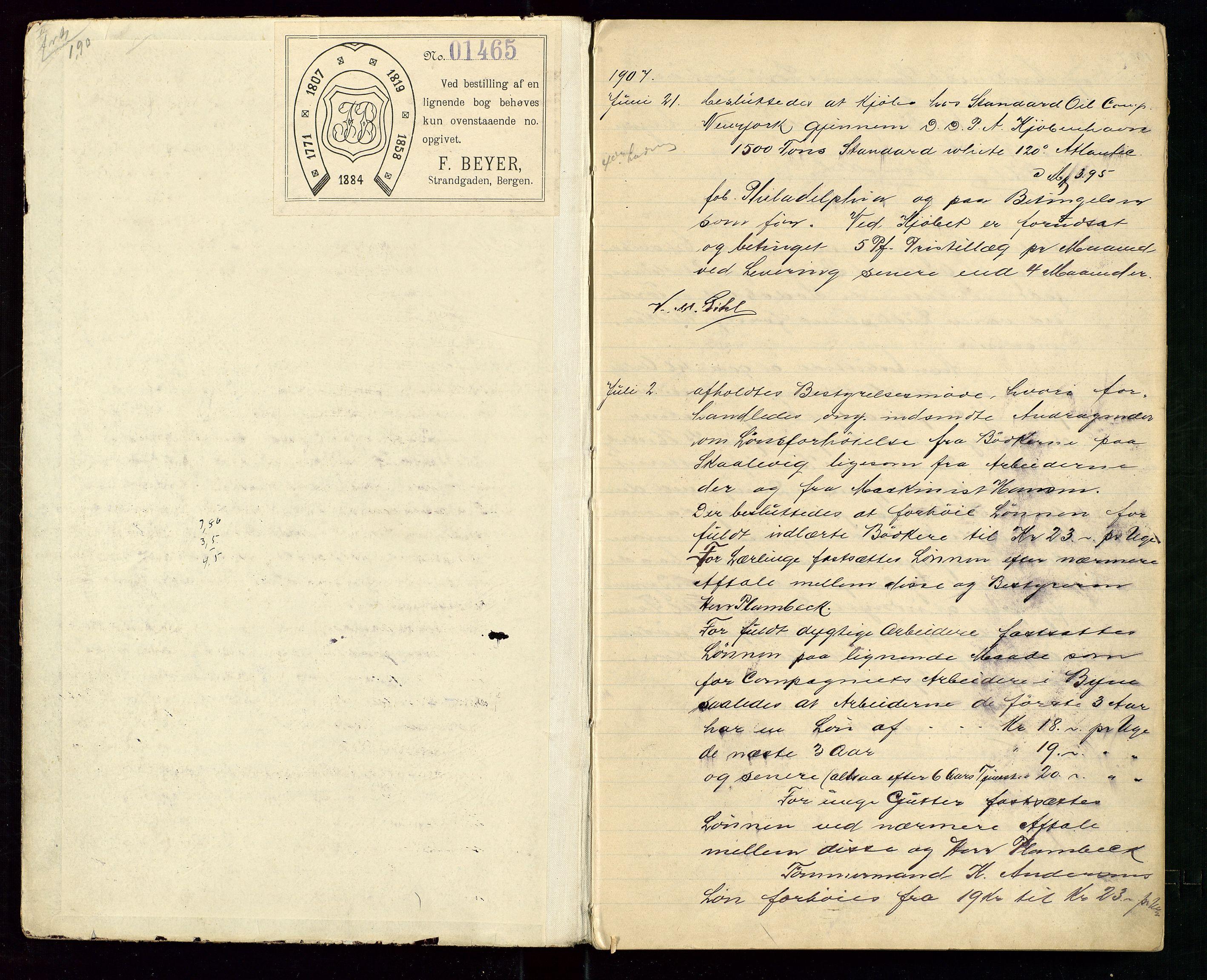 SAST, PA 1533 - A/S Vestlandske Petroleumscompani, A/Aa/L0001: Generalforsamlinger og styreprotokoller, 1907-1915, s. 2