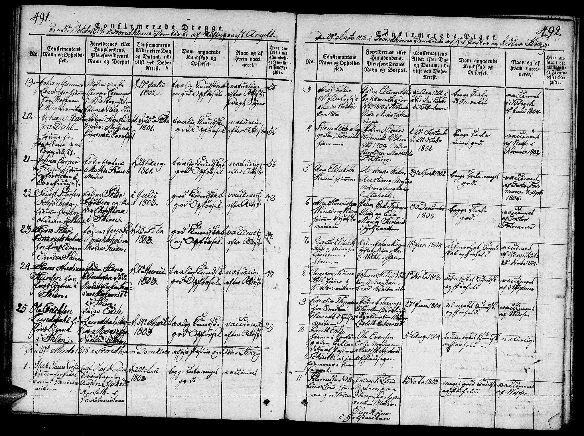 SAT, Ministerialprotokoller, klokkerbøker og fødselsregistre - Sør-Trøndelag, 601/L0043: Ministerialbok nr. 601A11, 1815-1821, s. 491-492