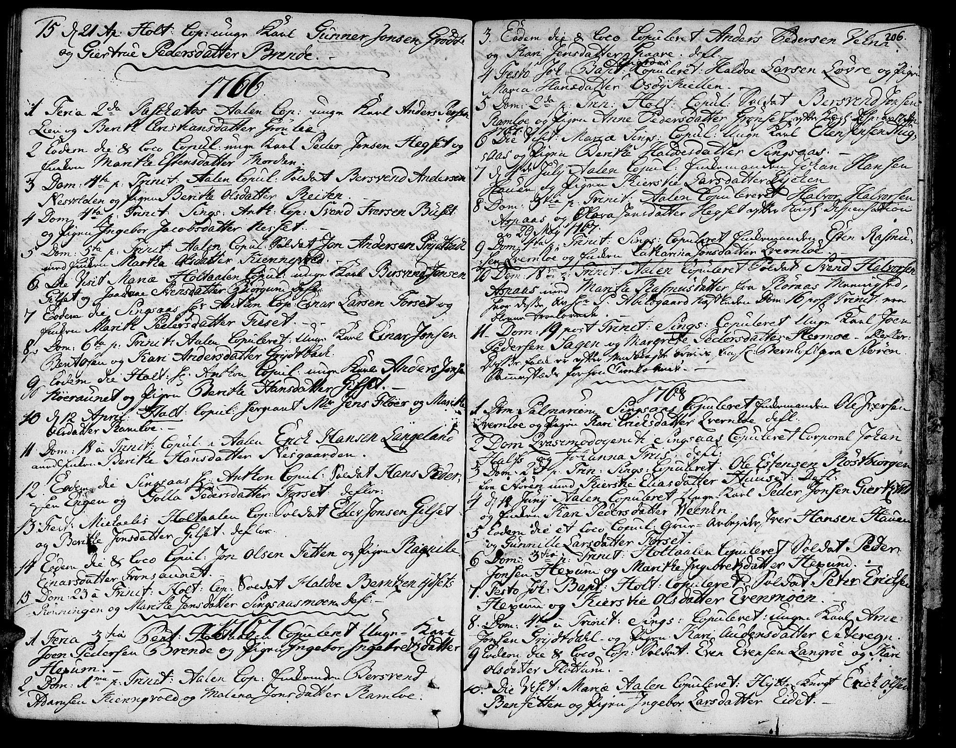 SAT, Ministerialprotokoller, klokkerbøker og fødselsregistre - Sør-Trøndelag, 685/L0952: Ministerialbok nr. 685A01, 1745-1804, s. 206
