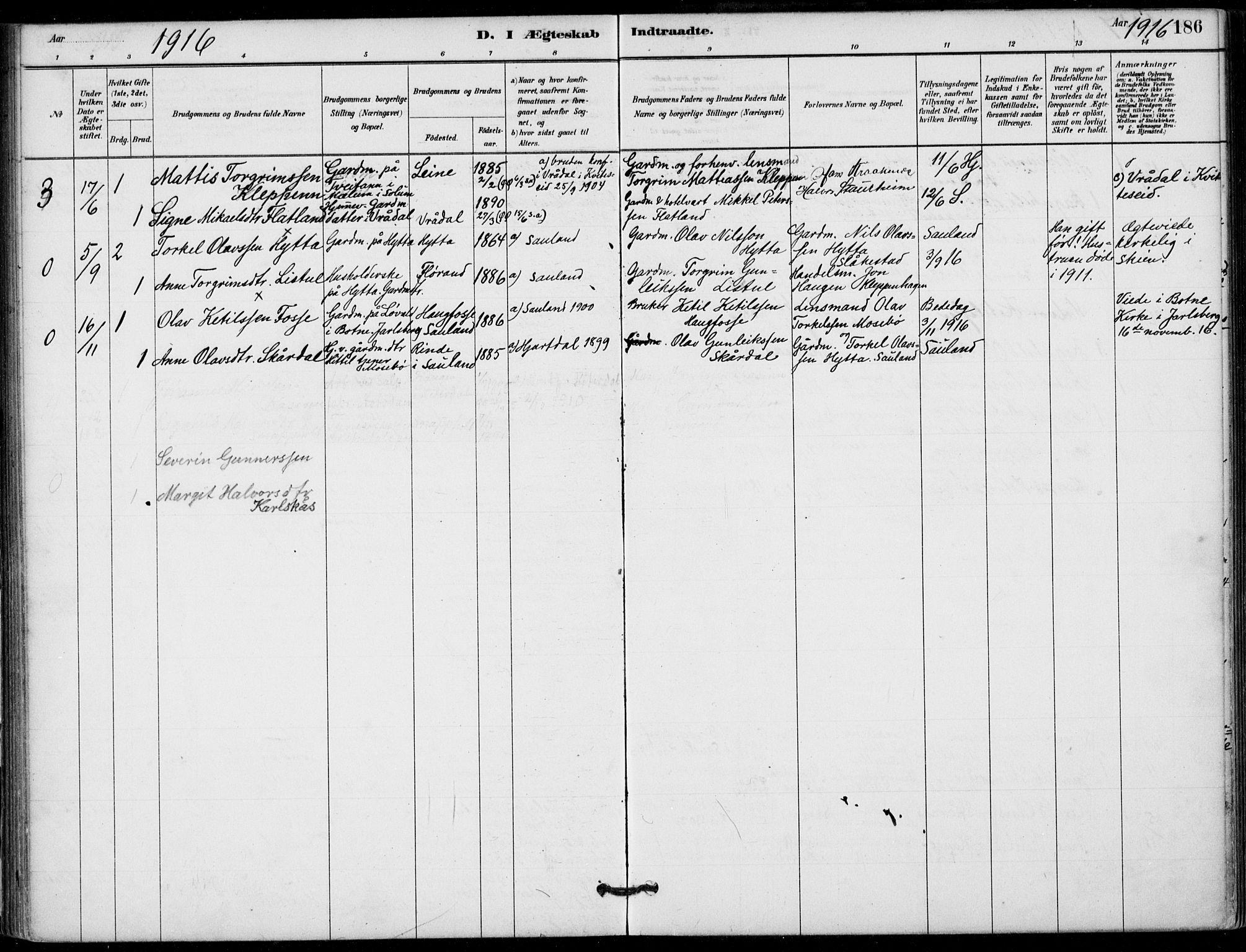SAKO, Hjartdal kirkebøker, F/Fb/L0002: Ministerialbok nr. II 2, 1880-1932, s. 186