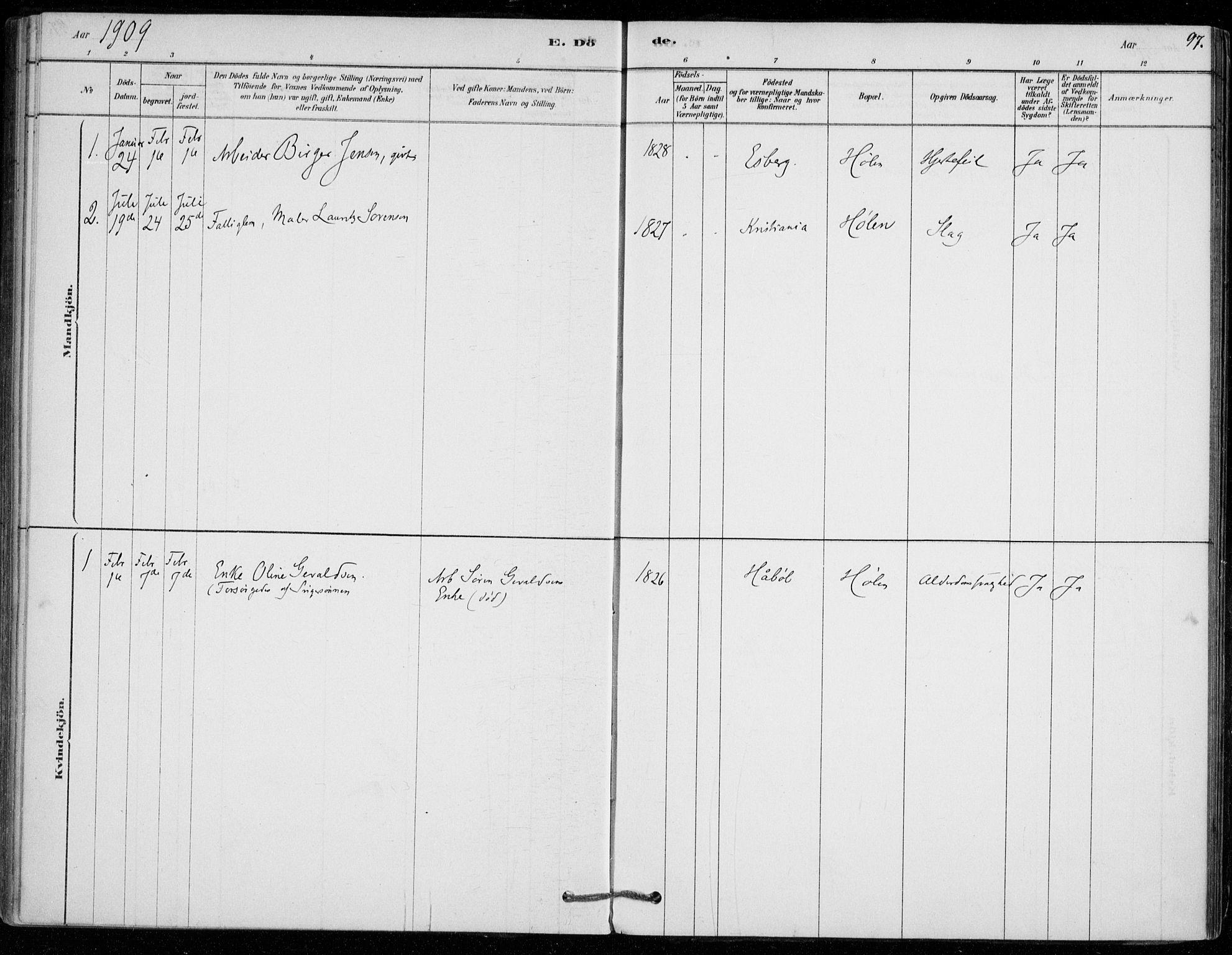 SAO, Vestby prestekontor Kirkebøker, F/Fe/L0001: Ministerialbok nr. V 1, 1878-1931, s. 97