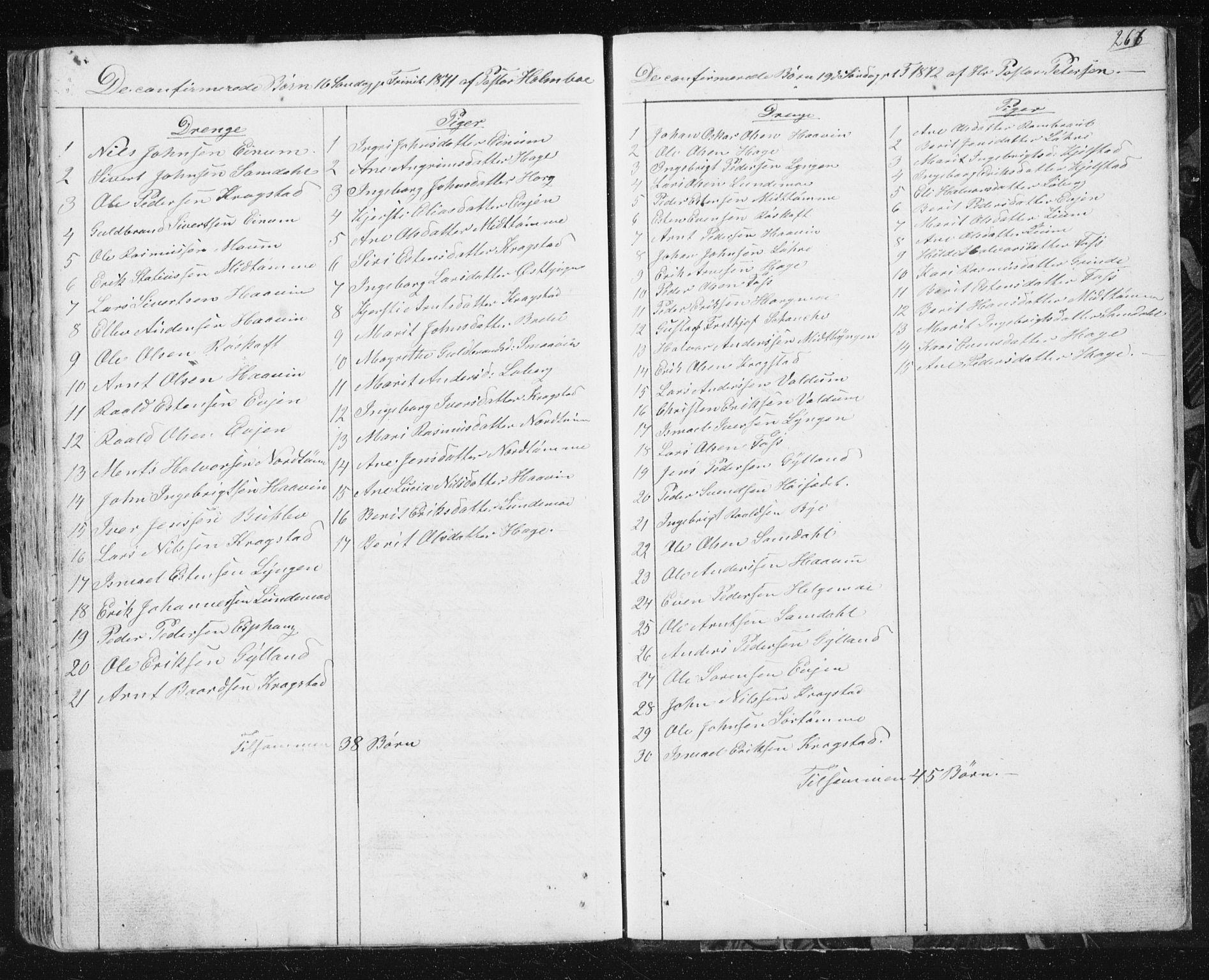 SAT, Ministerialprotokoller, klokkerbøker og fødselsregistre - Sør-Trøndelag, 692/L1110: Klokkerbok nr. 692C05, 1849-1889, s. 266