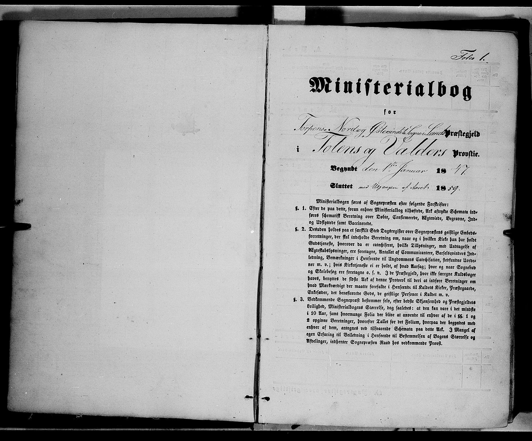 SAH, Land prestekontor, Ministerialbok nr. 10, 1847-1859, s. 1