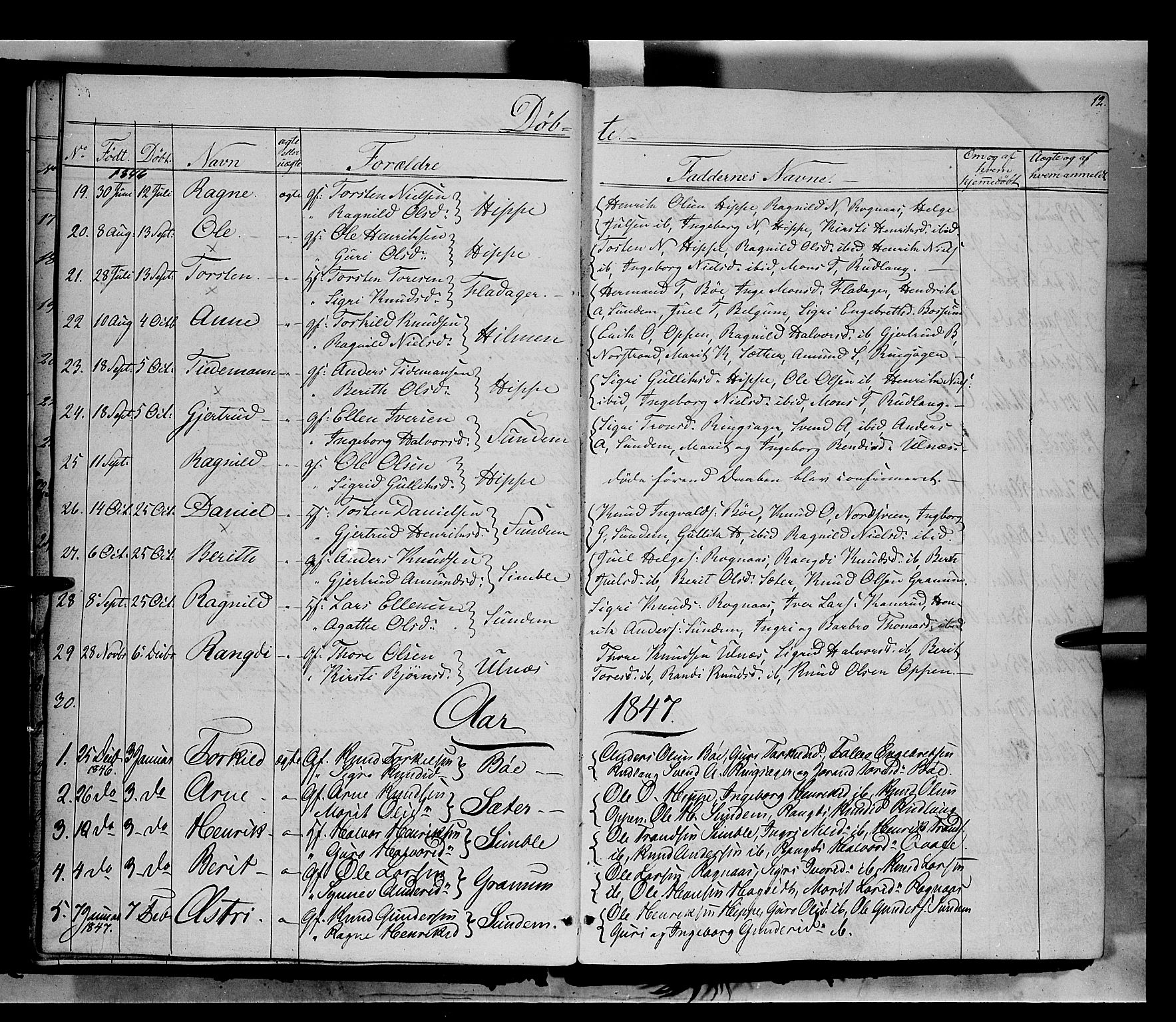 SAH, Nord-Aurdal prestekontor, Ministerialbok nr. 6, 1842-1863, s. 12