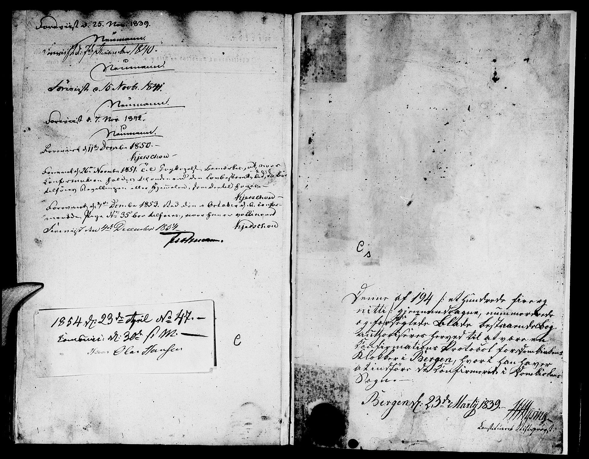 SAB, Domkirken Sokneprestembete, H/Hab/L0022: Klokkerbok nr. C 2, 1839-1854