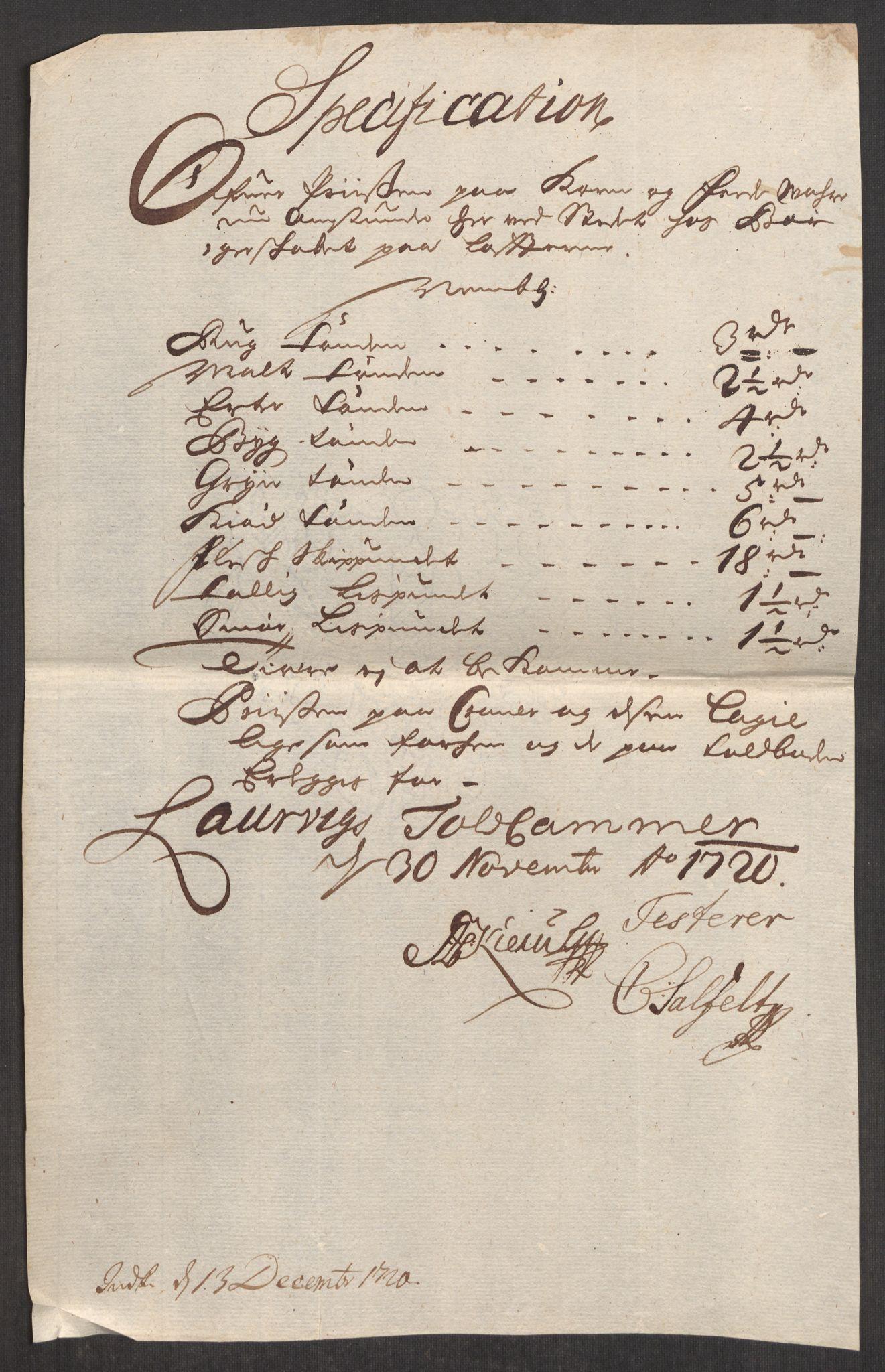 RA, Rentekammeret inntil 1814, Realistisk ordnet avdeling, Oe/L0001: [Ø1]: Priskuranter, 1712-1739, s. 224