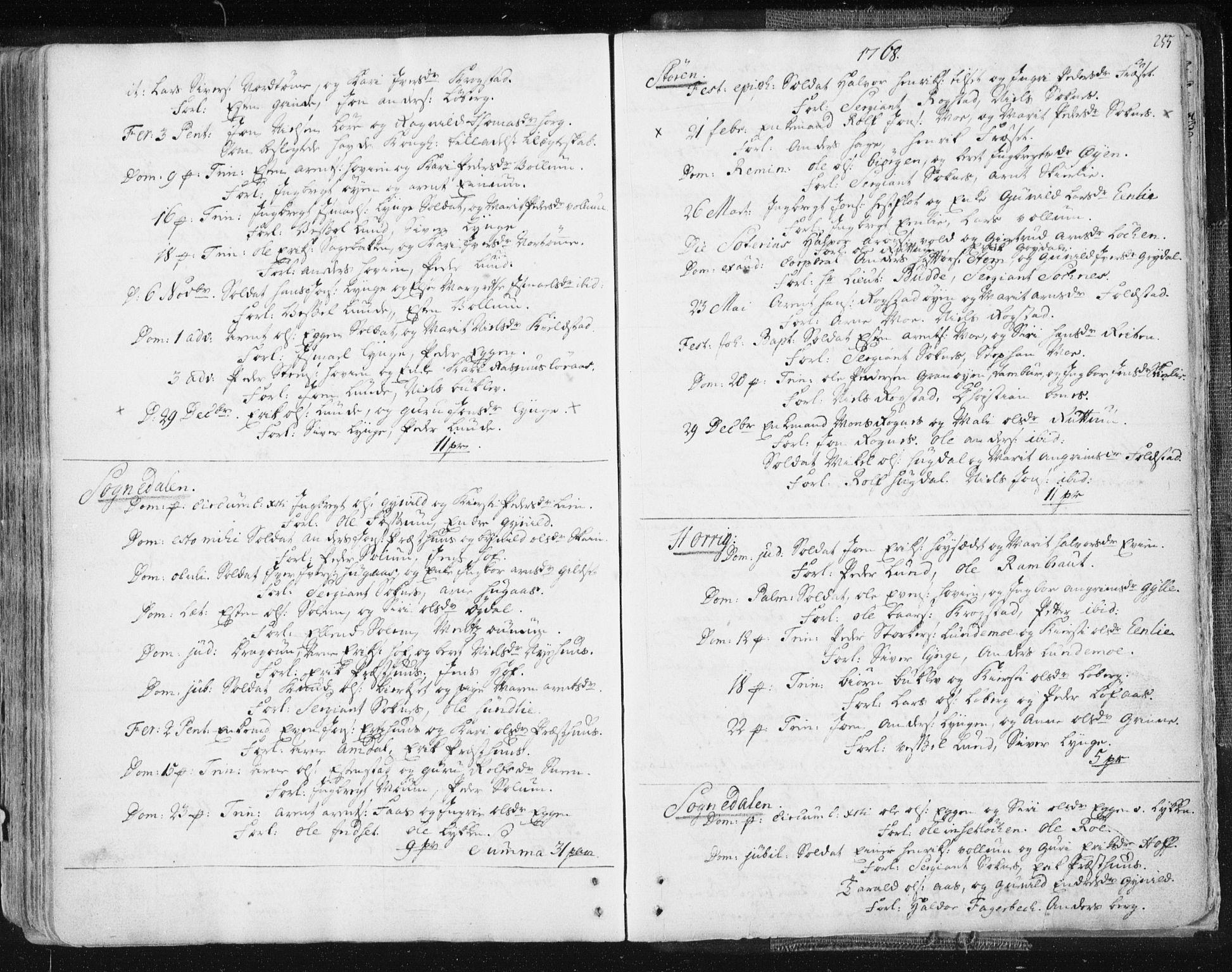 SAT, Ministerialprotokoller, klokkerbøker og fødselsregistre - Sør-Trøndelag, 687/L0991: Ministerialbok nr. 687A02, 1747-1790, s. 255
