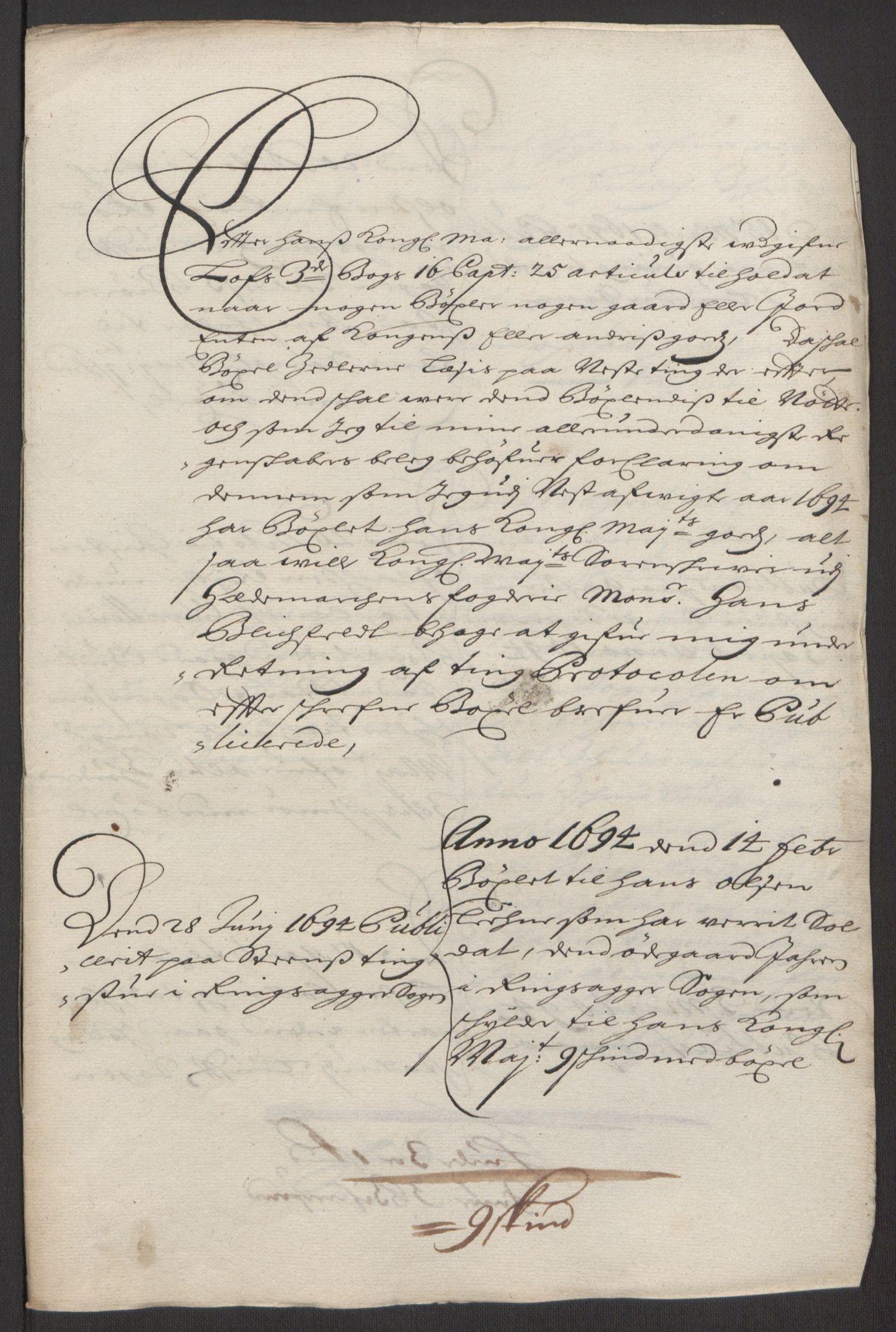 RA, Rentekammeret inntil 1814, Reviderte regnskaper, Fogderegnskap, R16/L1035: Fogderegnskap Hedmark, 1694, s. 66